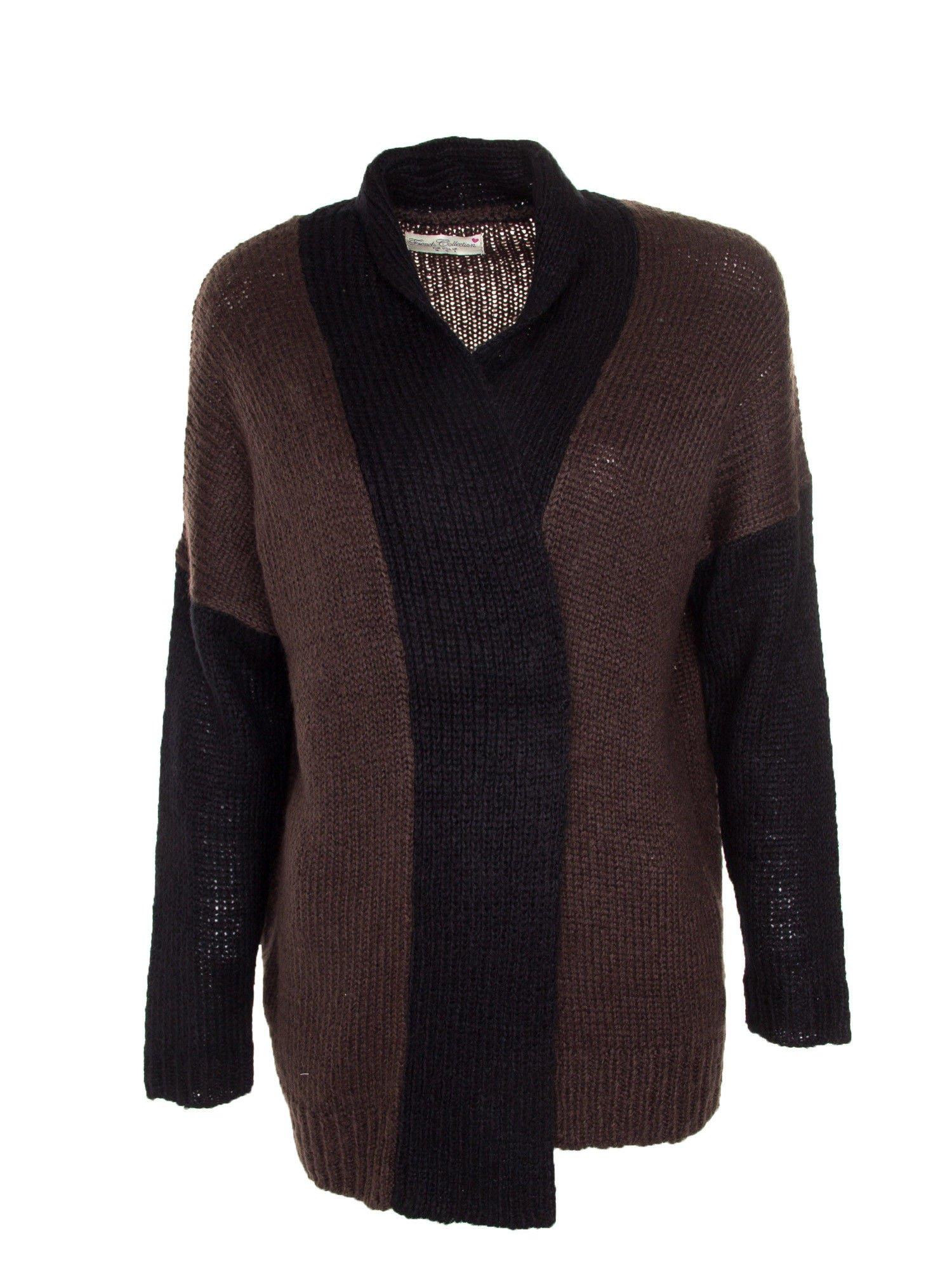 Ciemnobrązowy sweter z kontrastowym pasem i rękawami                                  zdj.                                  7