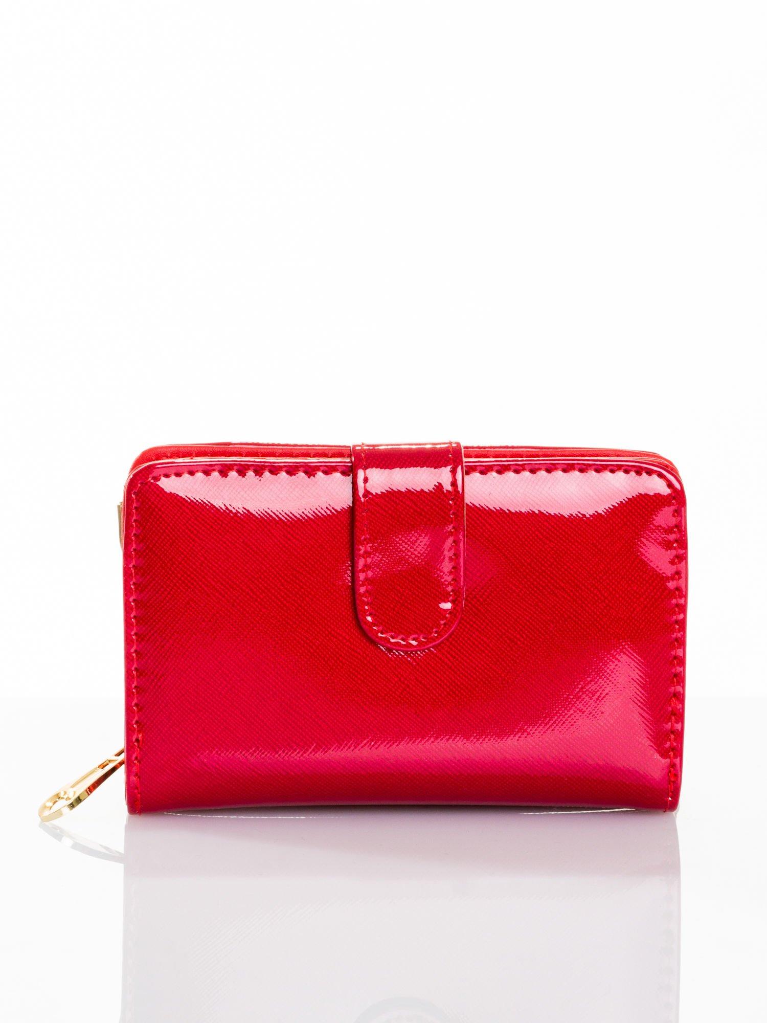 Ciemnoczerwony portfel efekt skóry saffiano                                  zdj.                                  1