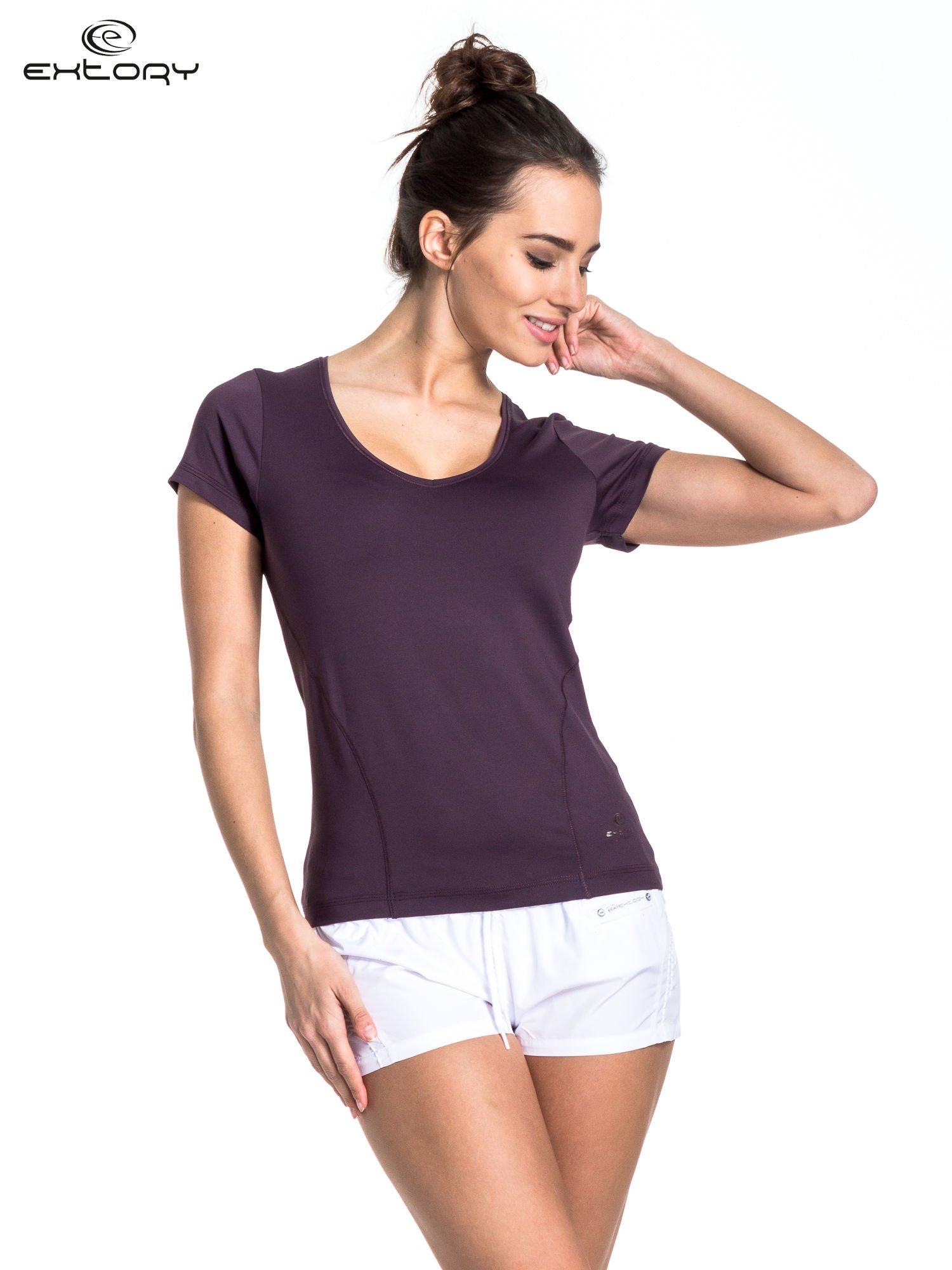 Ciemnofioletowy t-shirt sportowy basic                                  zdj.                                  1