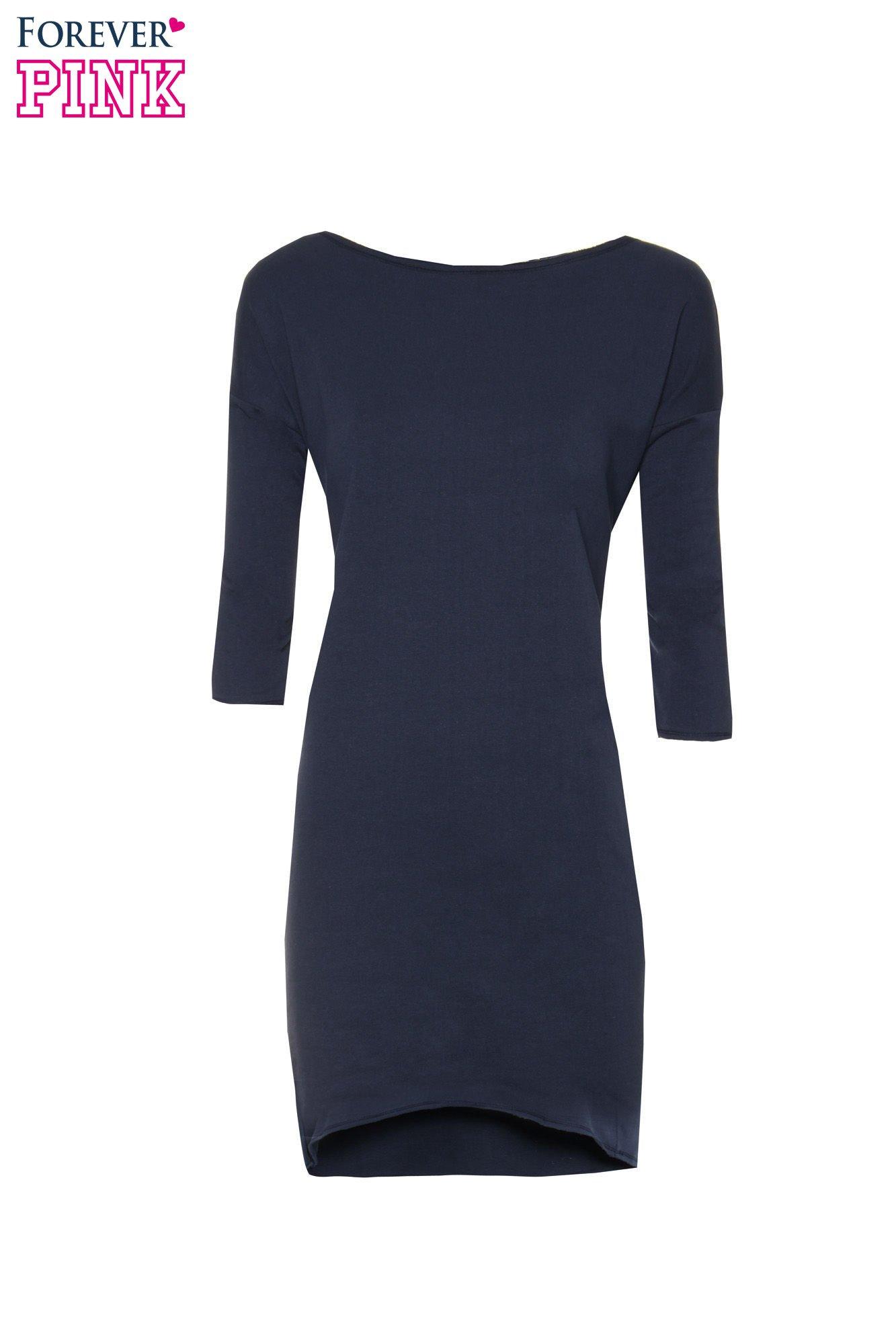 Ciemnogranatowa sukienka oversize z surowym wykończeniem                                  zdj.                                  5