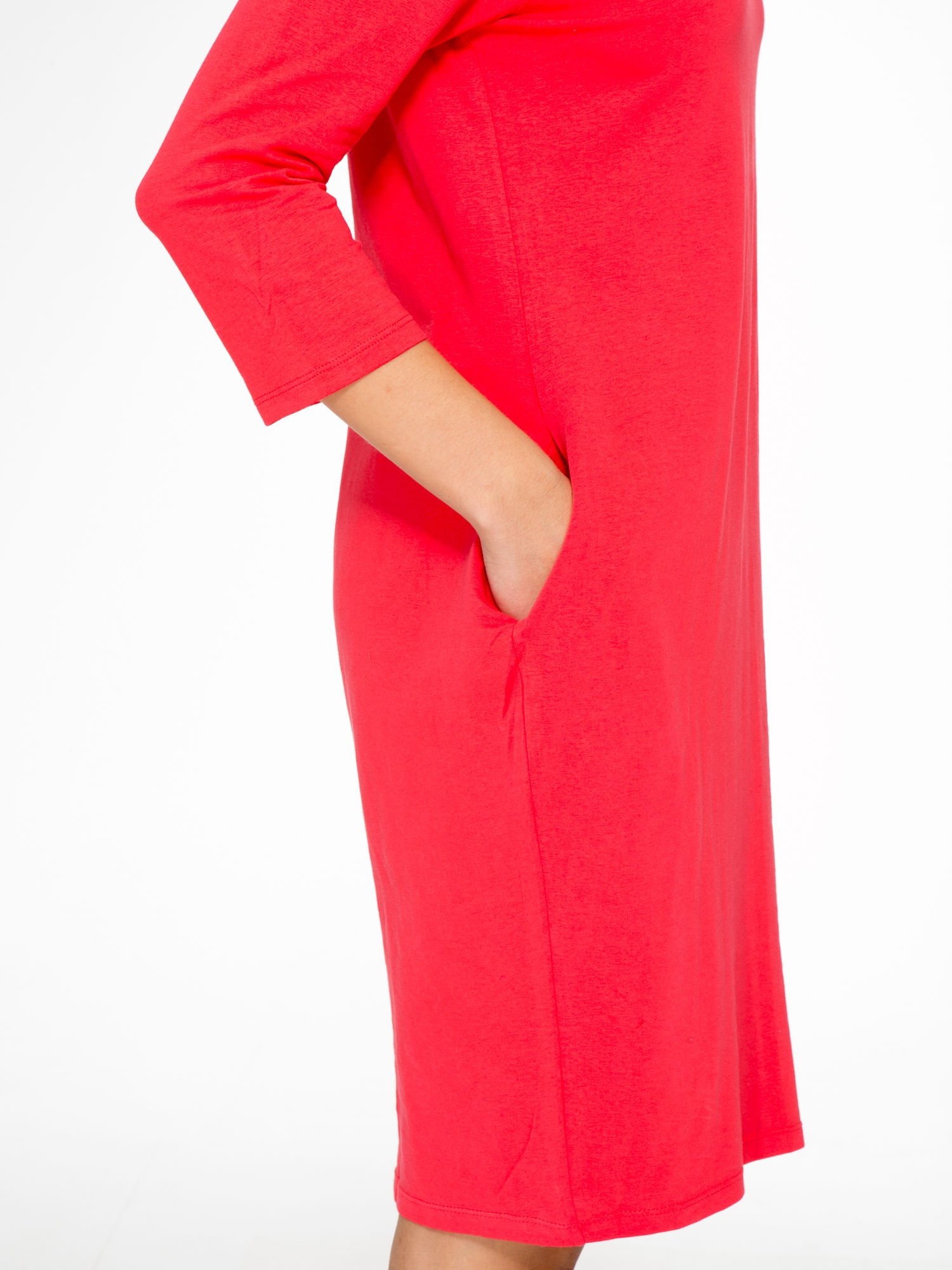 Ciemnokoralowa dresowa sukienka z kieszeniami po bokach                                  zdj.                                  8