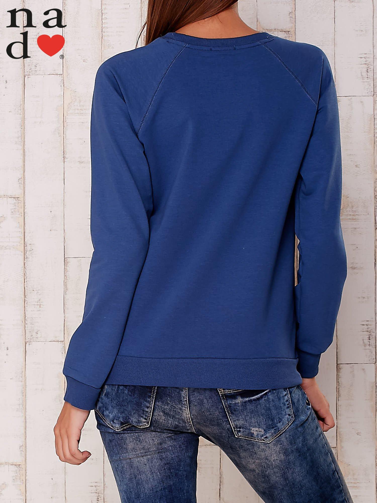 Ciemnoniebieska gładka bluza                                  zdj.                                  4