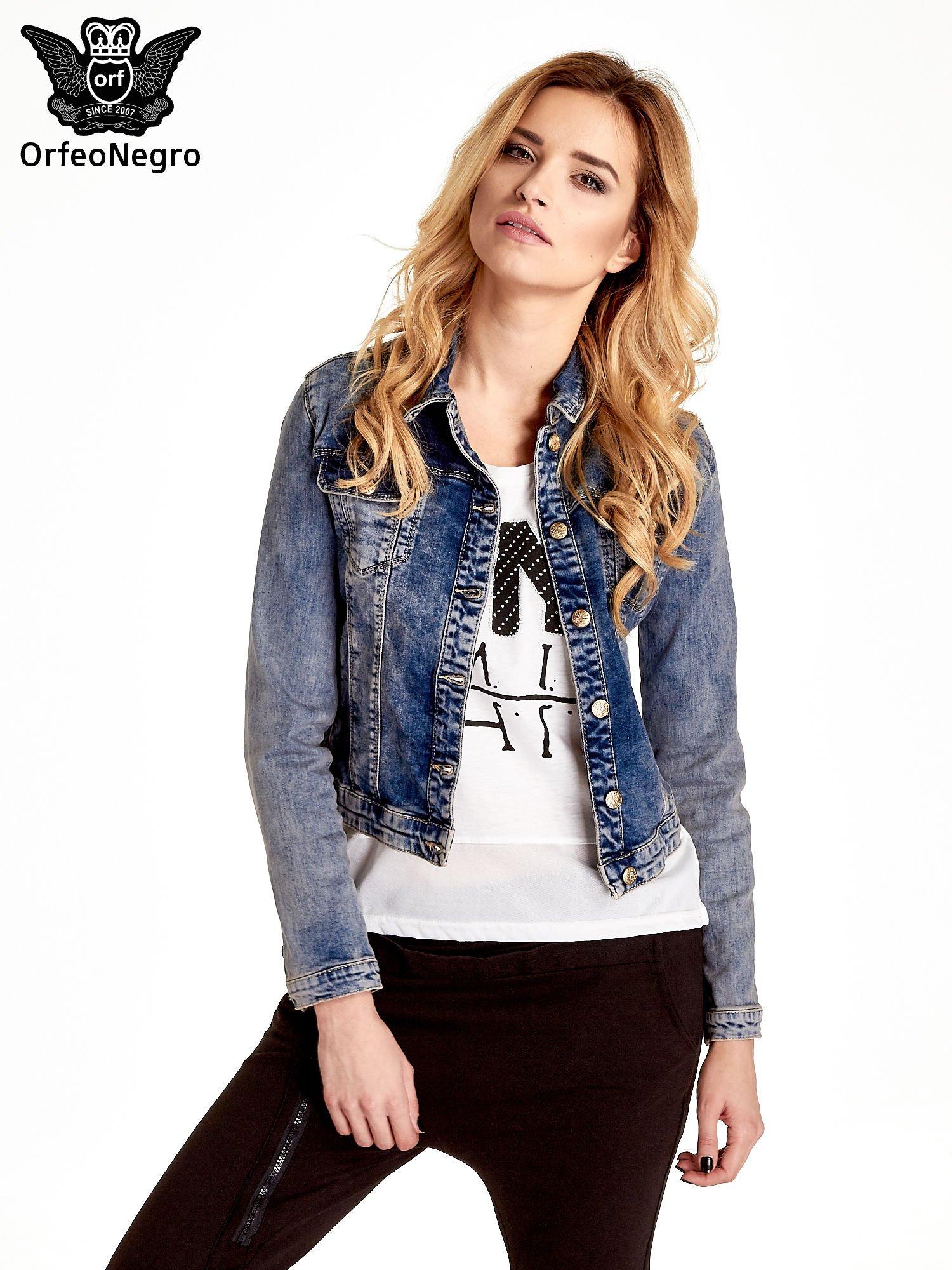Ciemnoniebieska klasyczna kurtka jeansowa damska                                  zdj.                                  1