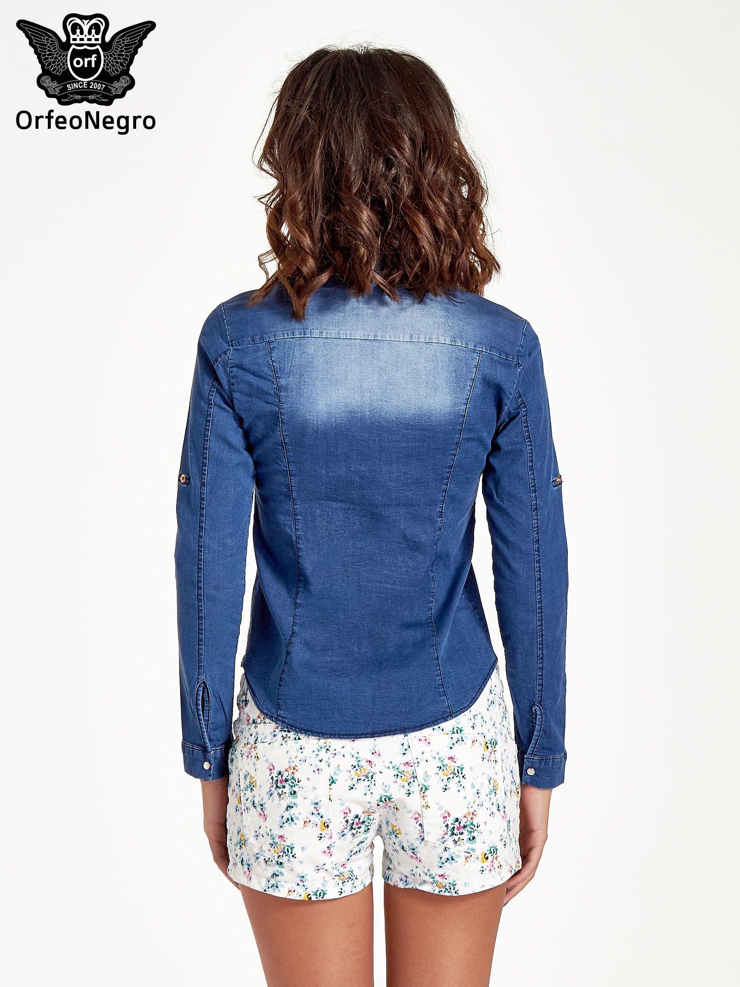 Ciemnoniebieska koszula jeansowa z cieniowaniem                                  zdj.                                  3