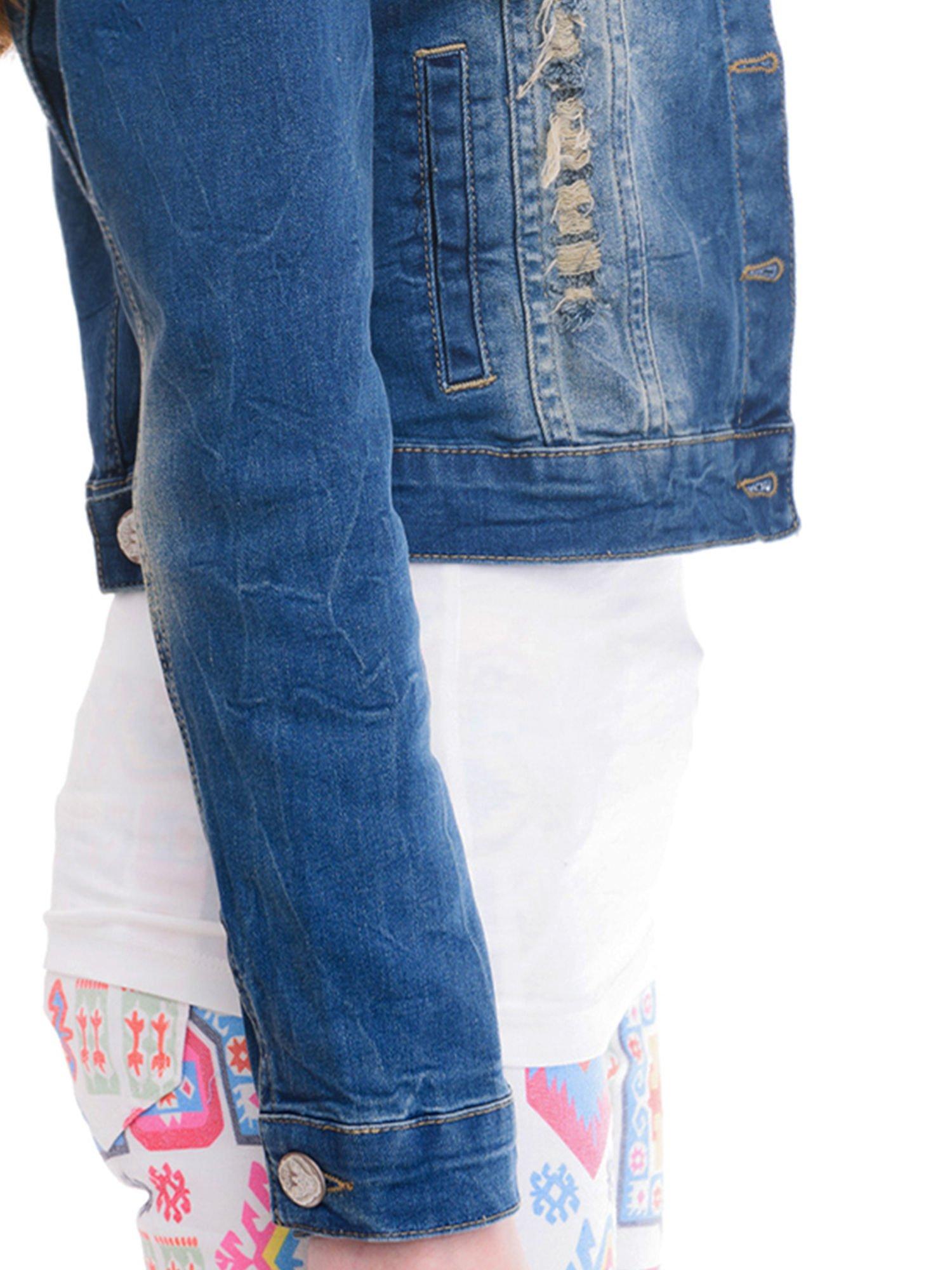 10c00e3f08e3e 5; Ciemnoniebieska kurtka jeansowa damska z cieniowaniem i poszarpaniem ...