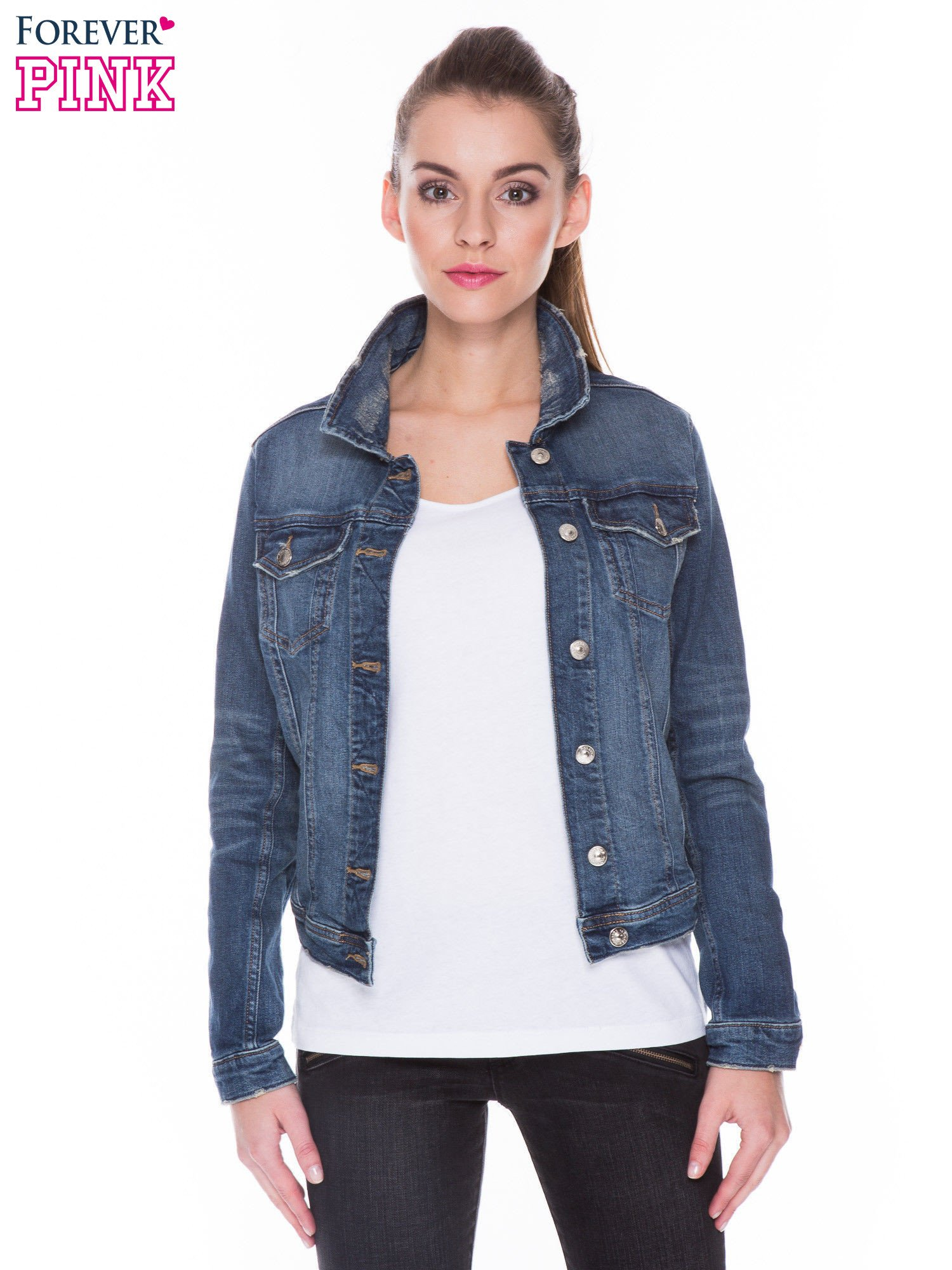 Ciemnoniebieska kurtka jeansowa z efektem przetarcia                                  zdj.                                  1