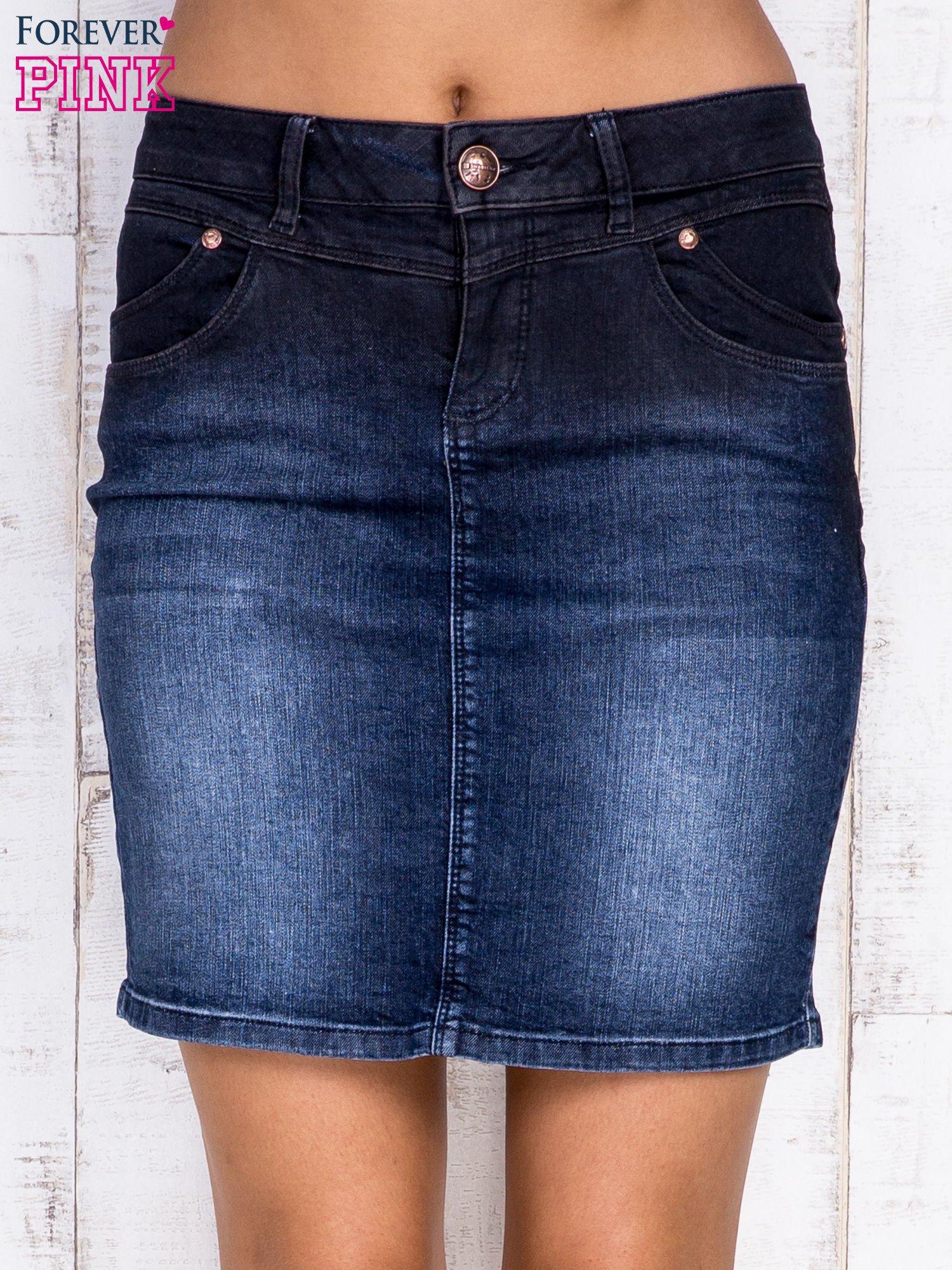 Ciemnoniebieska ołówkowa spódnica jeansowa                                  zdj.                                  1