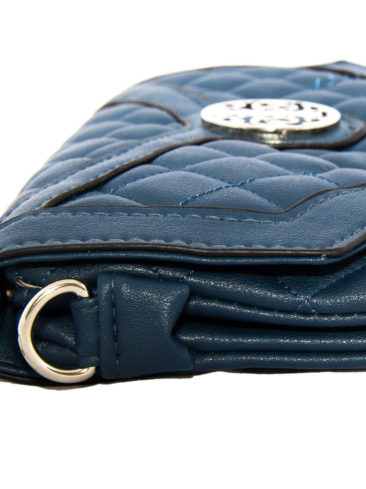 Ciemnoniebieska pikowana torba typu listonoszka                                  zdj.                                  3