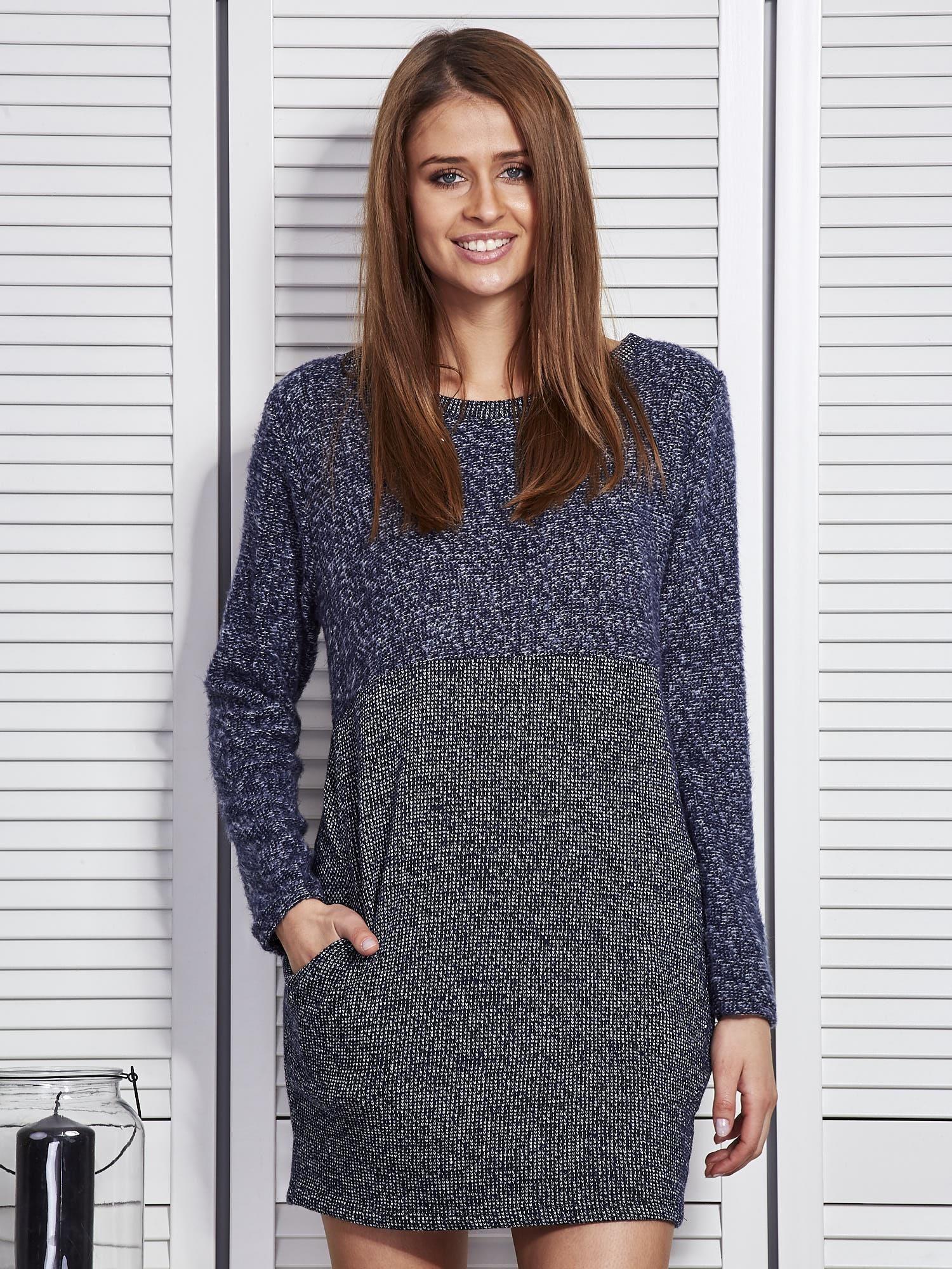 7540543f59 Ciemnoniebieska sukienka dzianinowa z kieszeniami - Sukienka ...