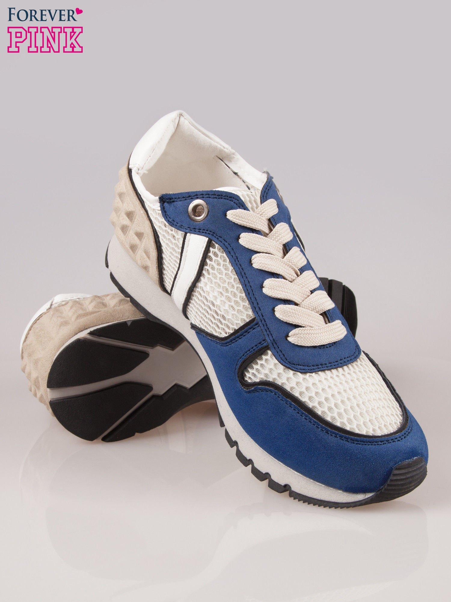 Ciemnoniebieskie buty sportowe Dragon z siateczką na wysokiej podeszwie                                  zdj.                                  4