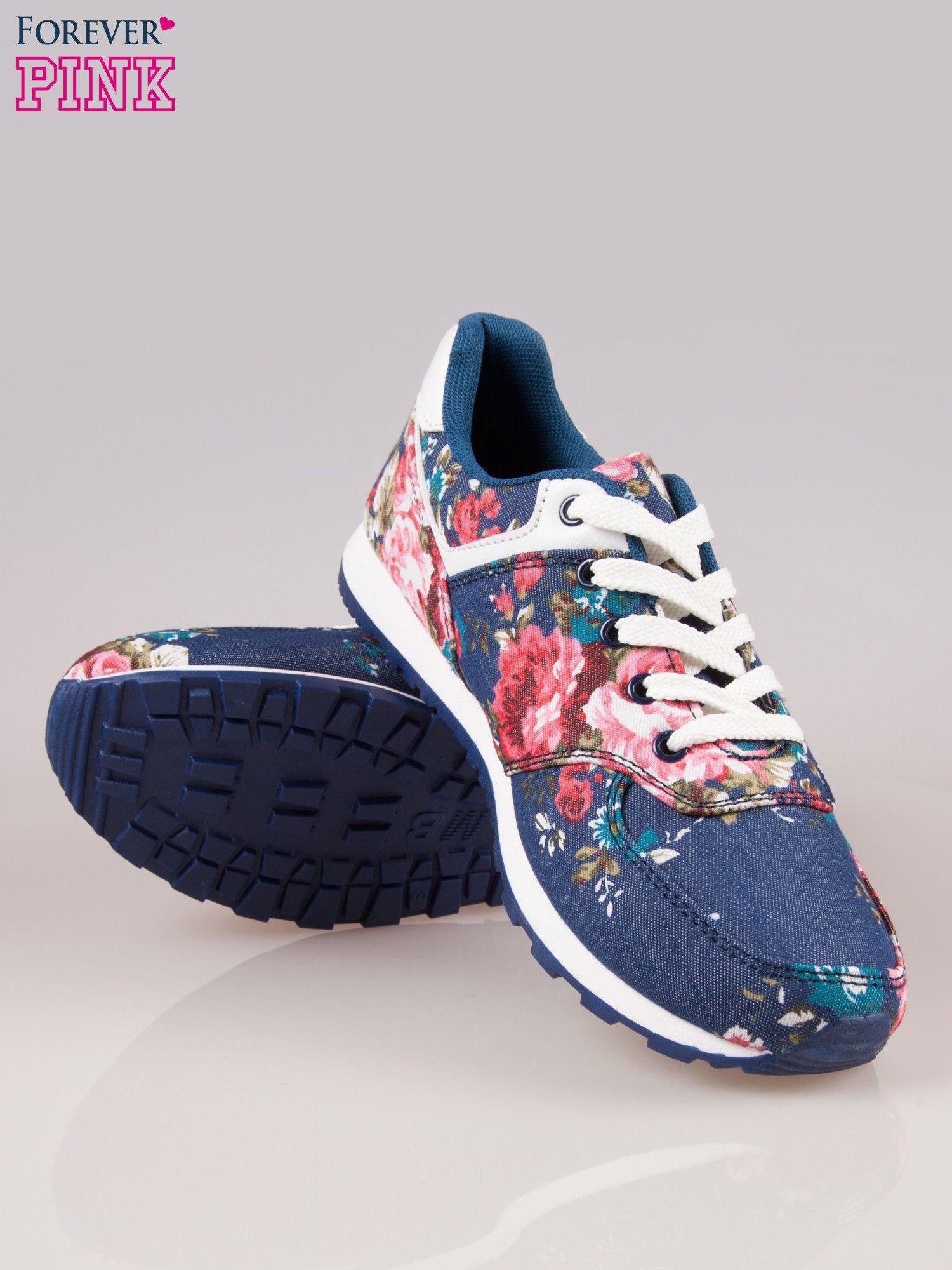 Ciemnoniebieskie kwiatowe buty sportowe w stylu casual                                  zdj.                                  4