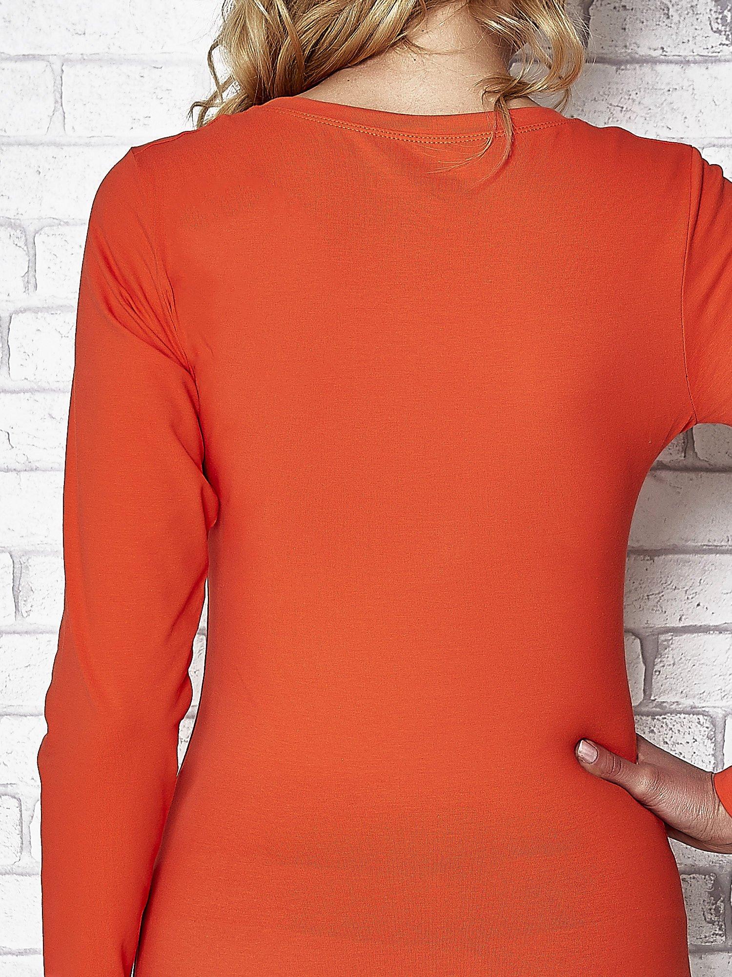 Ciemnopomarańczowa bluzka sportowa z dekoltem U                                  zdj.                                  6