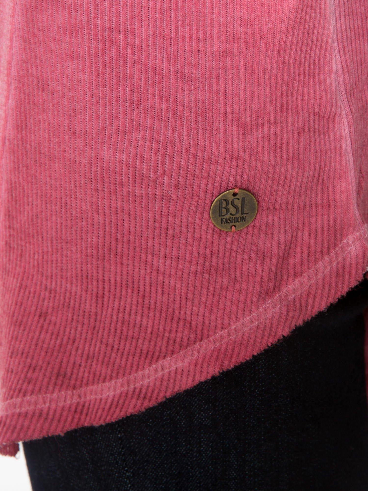 Ciemnoróżowa dresowa sukienkotunika z zaokrąglonym dołem                                  zdj.                                  7