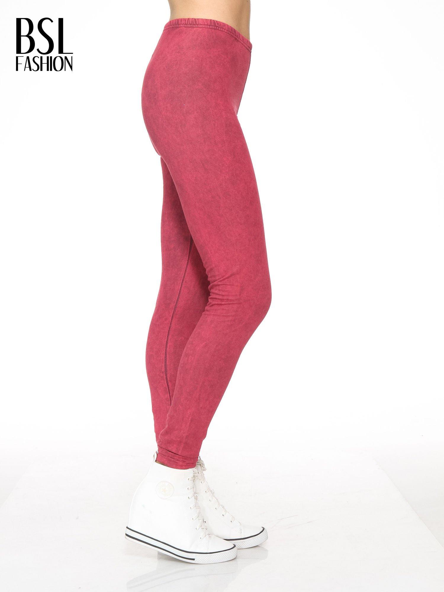Ciemnoróżowe dekatyzowane legginsy                                  zdj.                                  3
