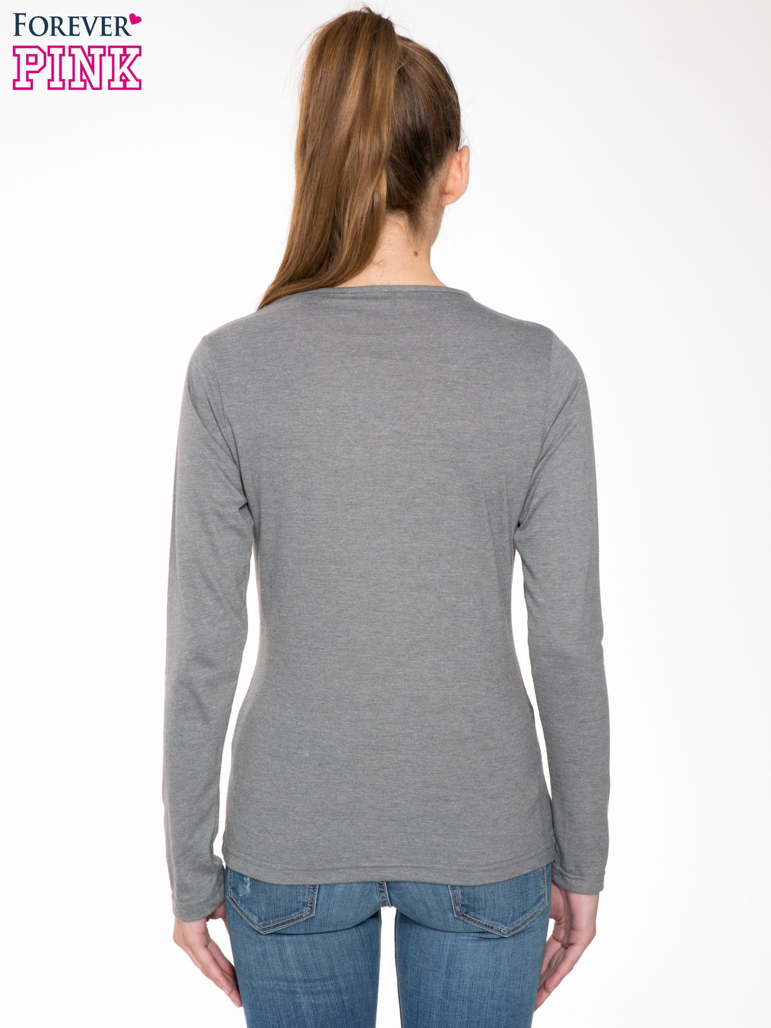 Ciemnoszara bawełniana bluzka typu basic z długim rękawem                                  zdj.                                  4