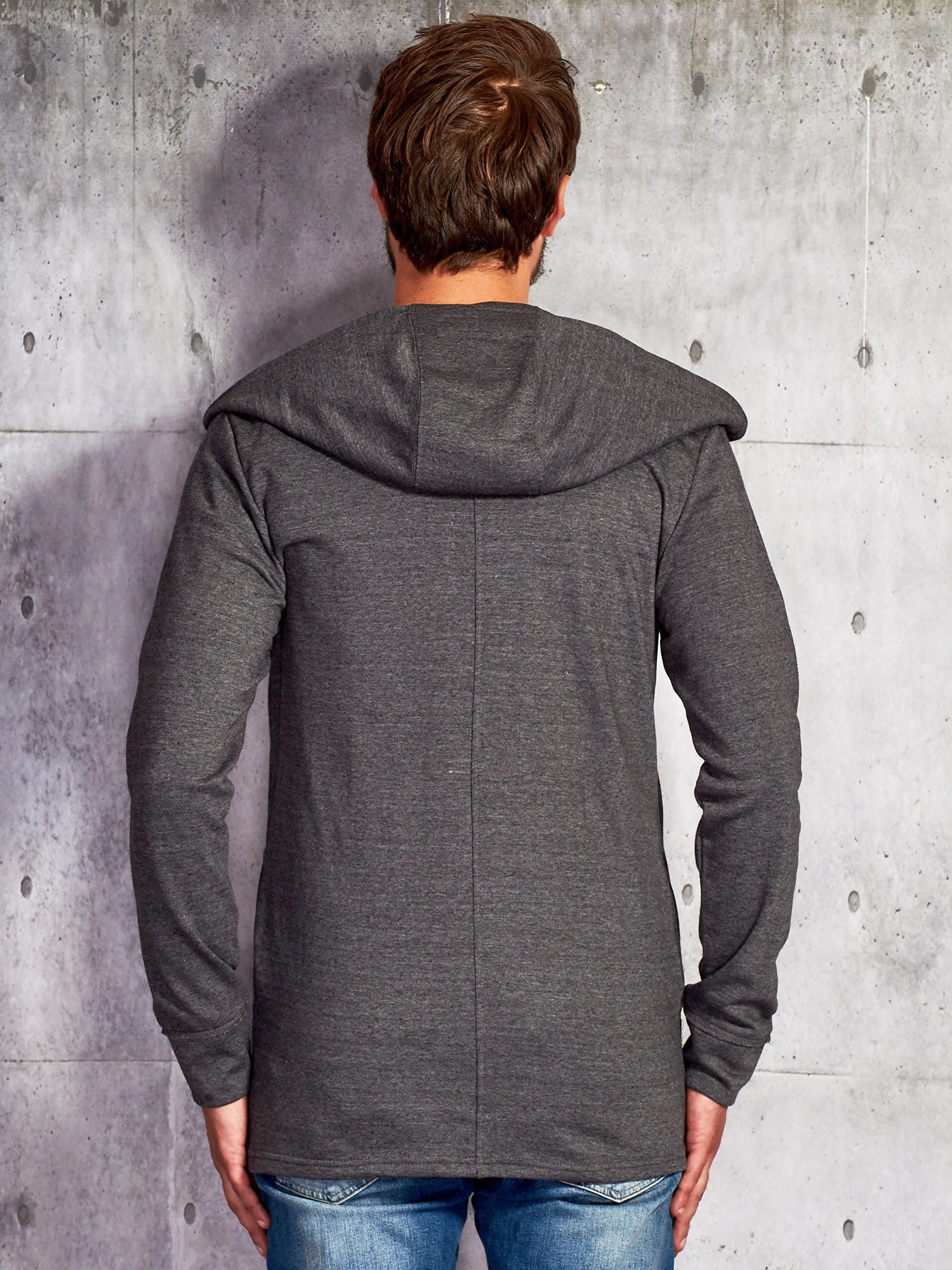 da0c530334 Ciemnoszara bluza męska z asymetrycznym suwakiem - Mężczyźni bluza ...