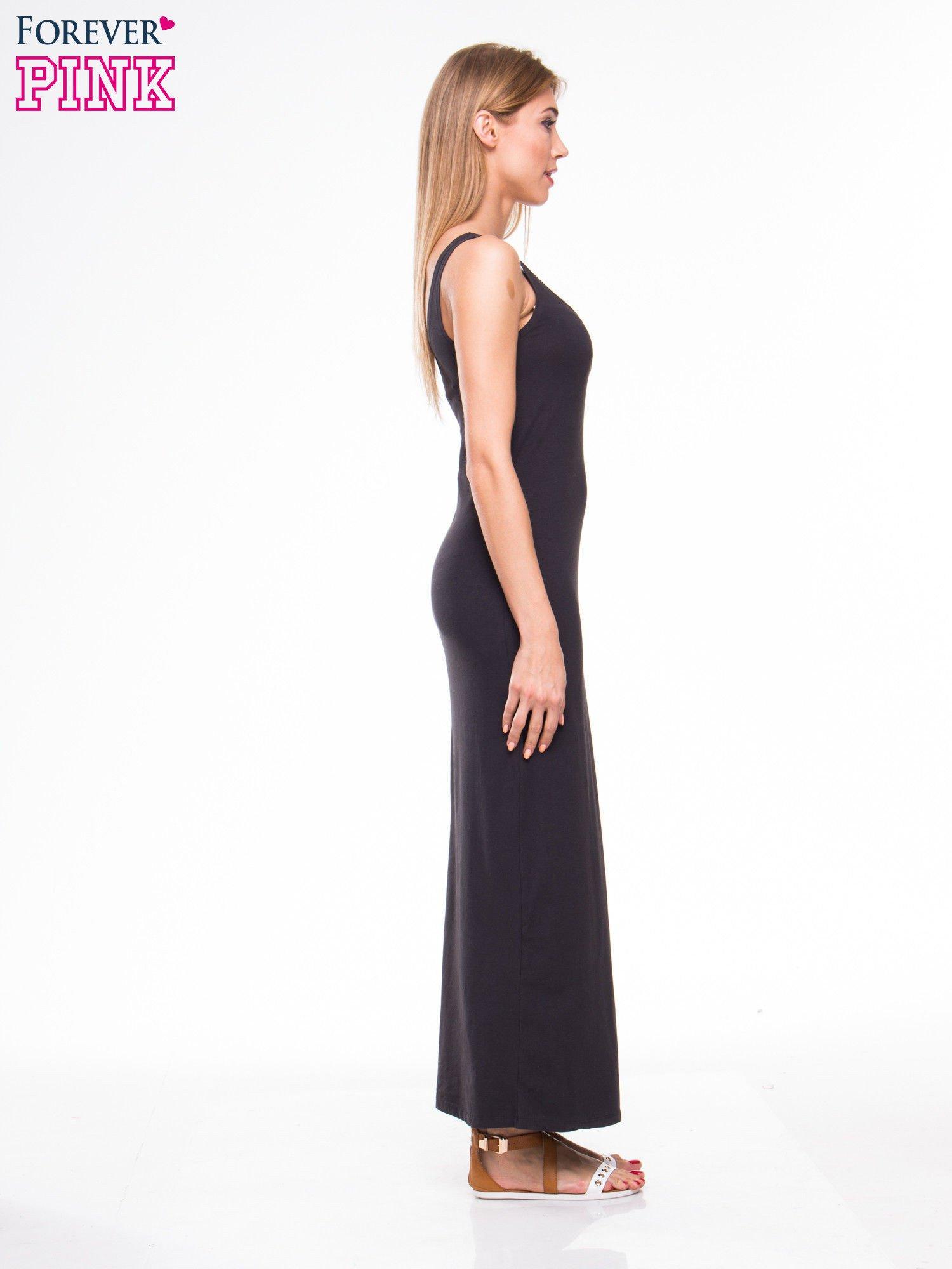 Ciemnoszara długa sukienka maxi na ramiączkach                                  zdj.                                  3