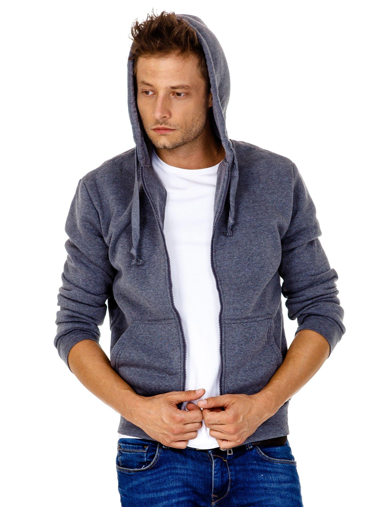 Ciemnoszara gruba bluza męska z kapturem i kieszeniami                                  zdj.                                  6