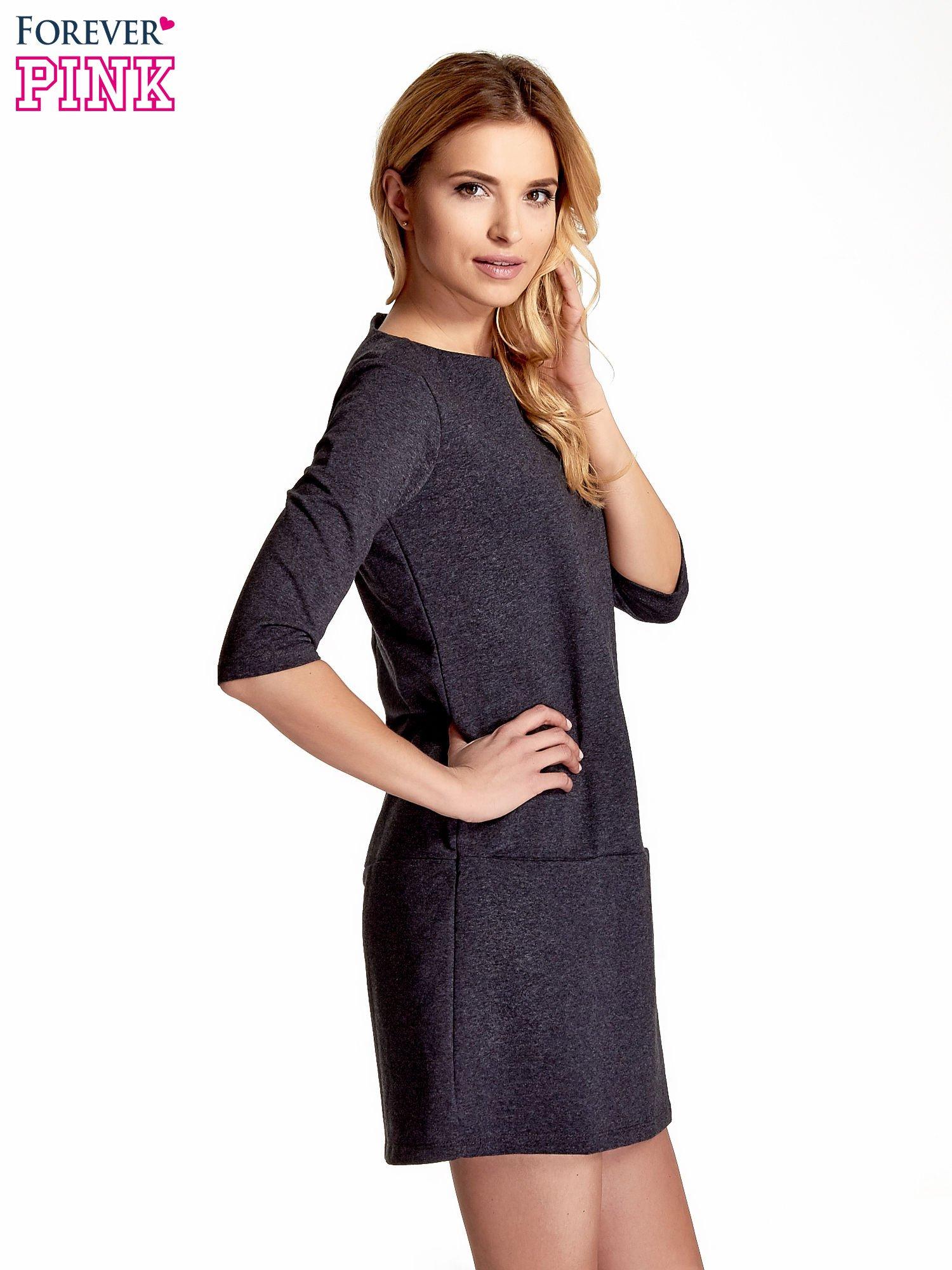 Ciemnoszara  prosta sukienka z kieszeniami                                   zdj.                                  3