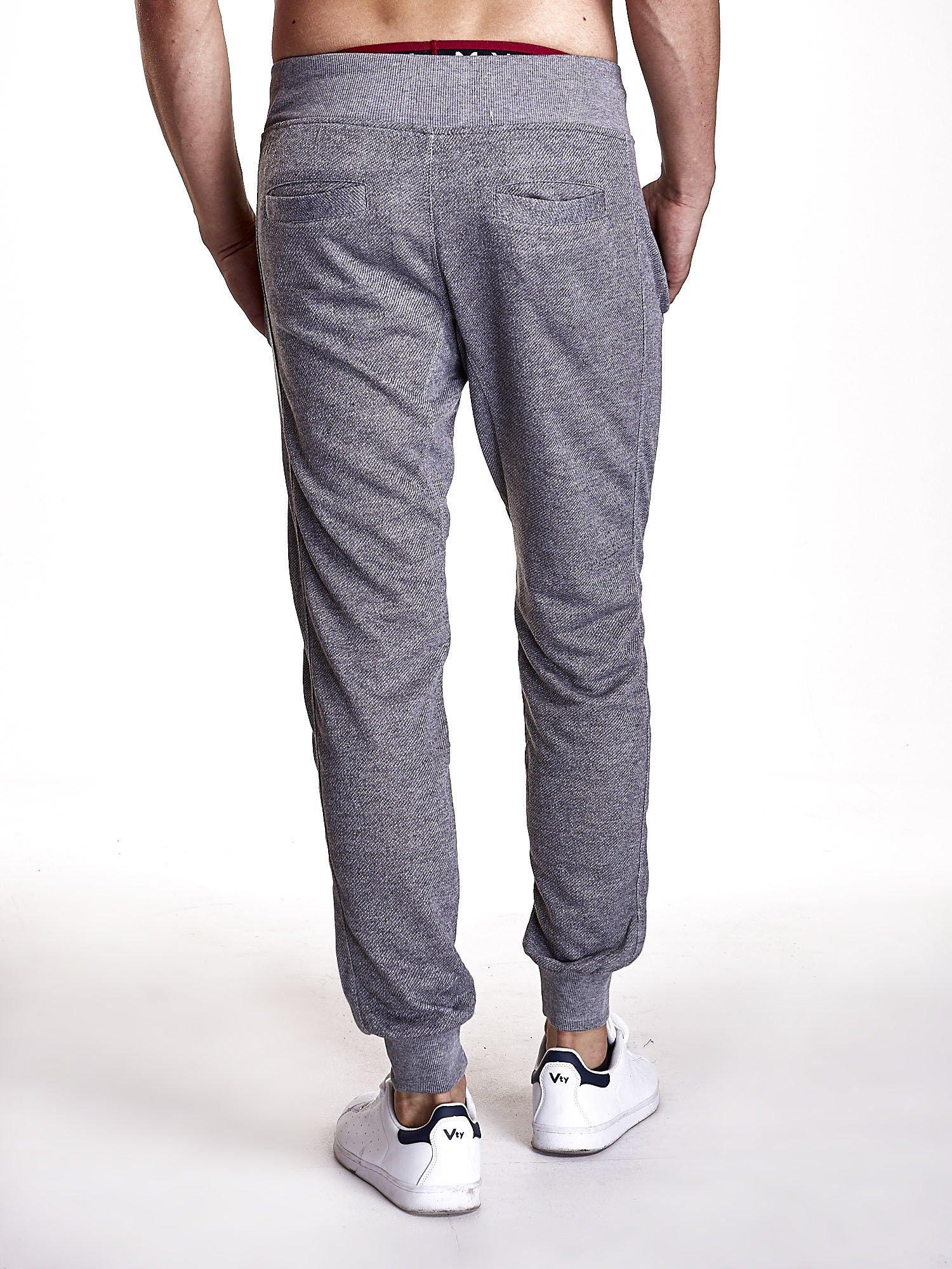 Ciemnoszare melanżowe spodnie męskie z trokami i kieszeniami                                  zdj.                                  2