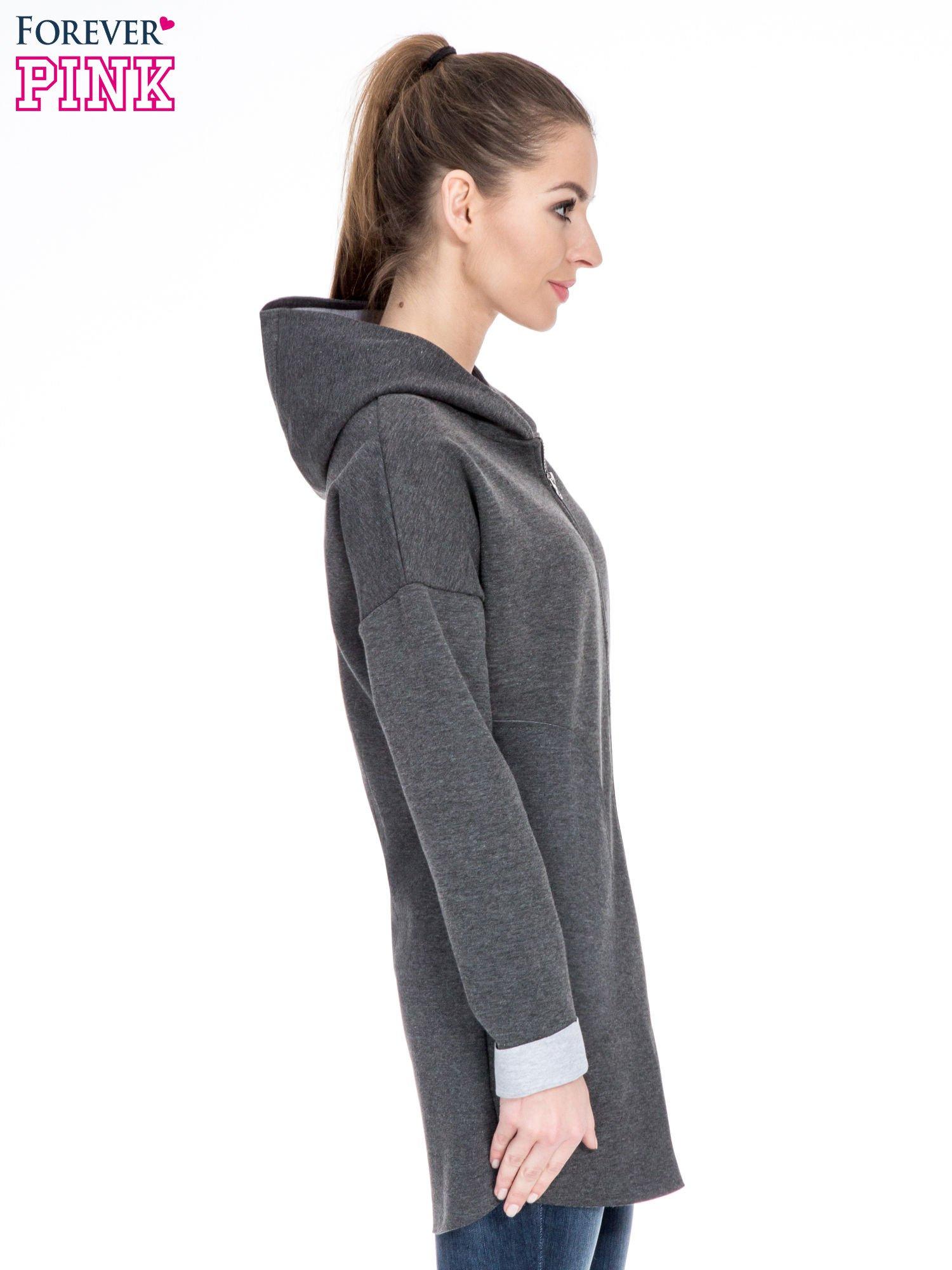 Ciemnoszary dresowy płaszcz oversize z kapturem                                  zdj.                                  3