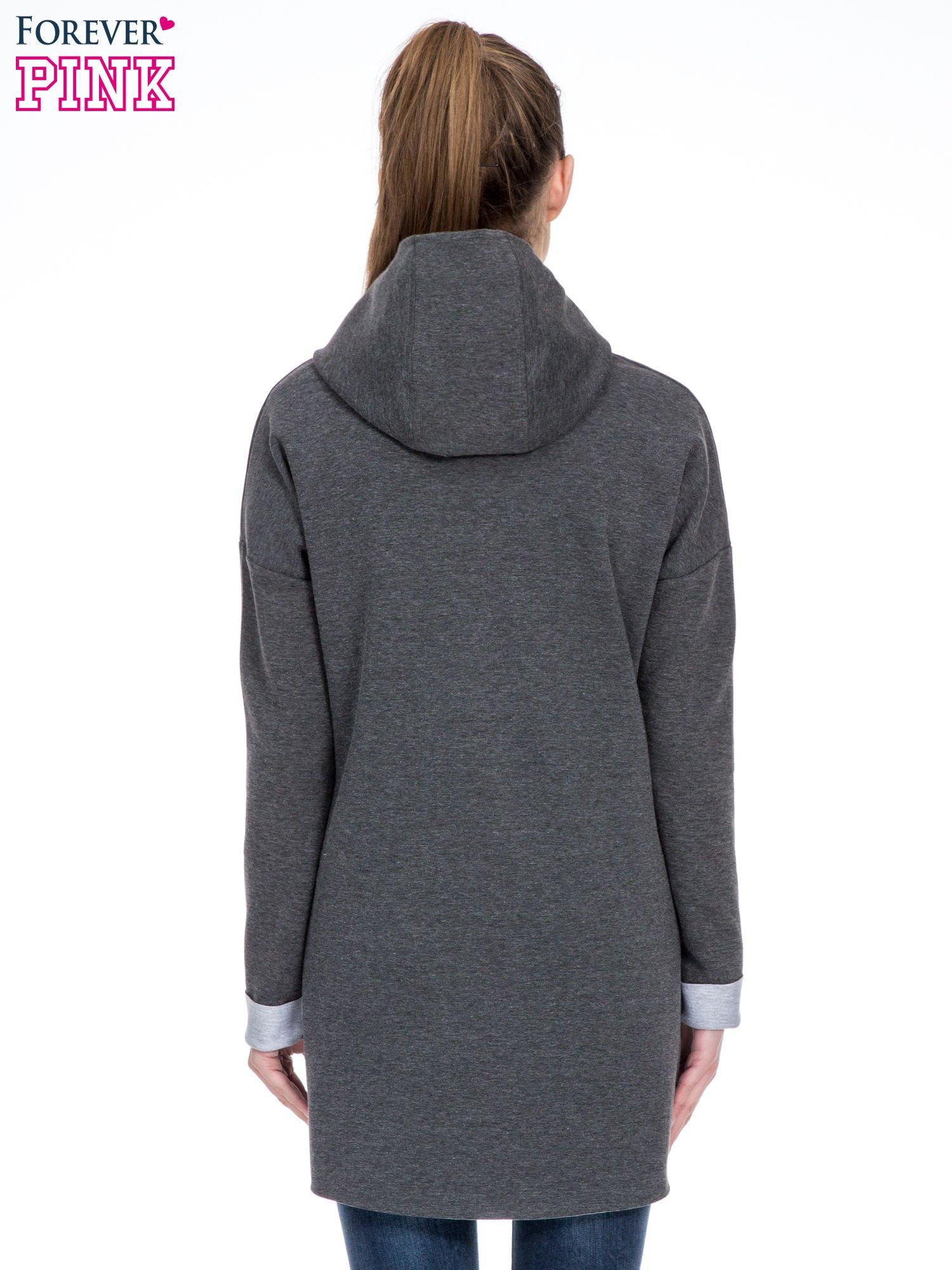 Ciemnoszary dresowy płaszcz oversize z kapturem                                  zdj.                                  4