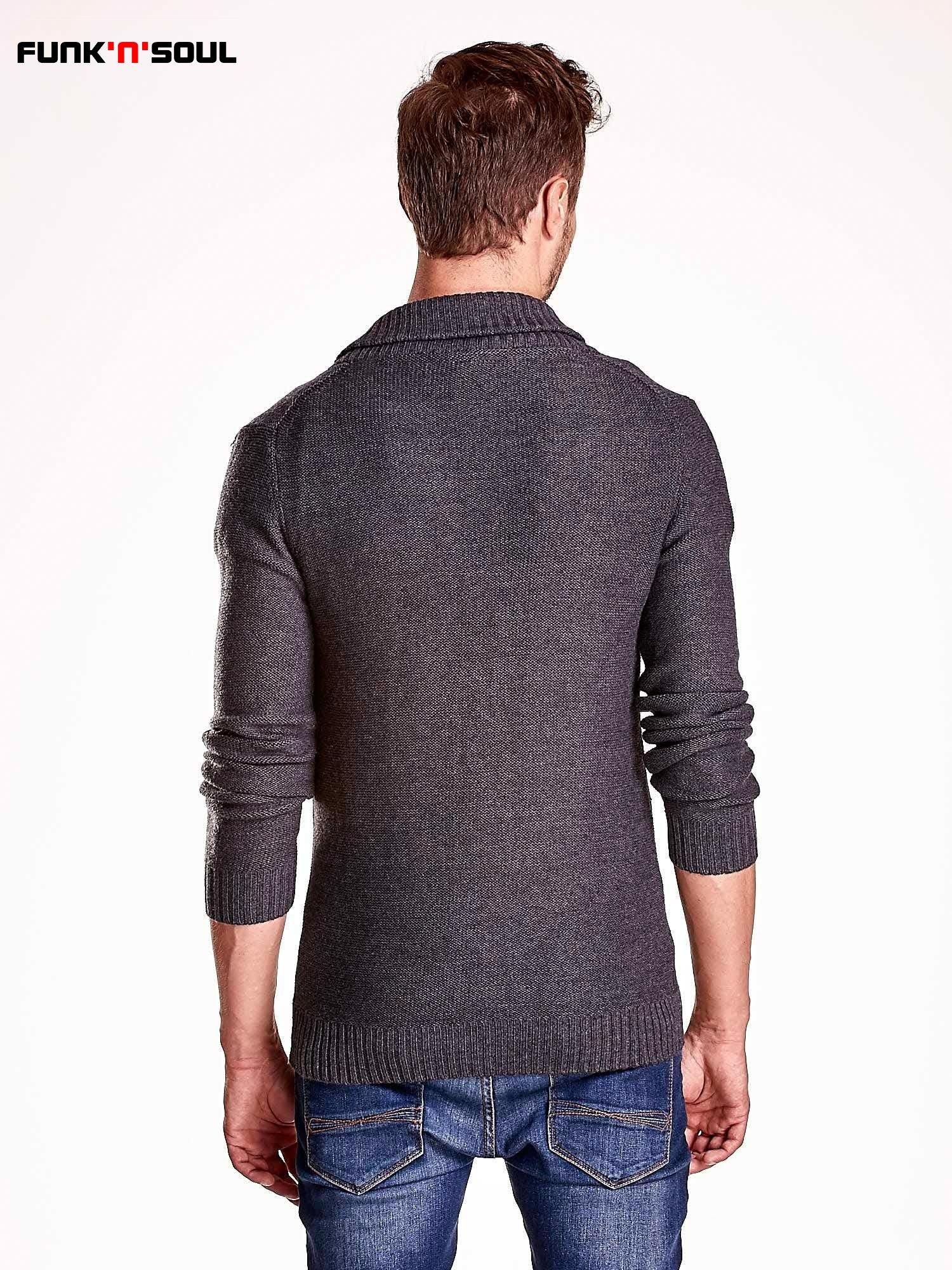 Ciemnoszary sweter męski zapinany na guziki FUNK N SOUL                                  zdj.                                  5