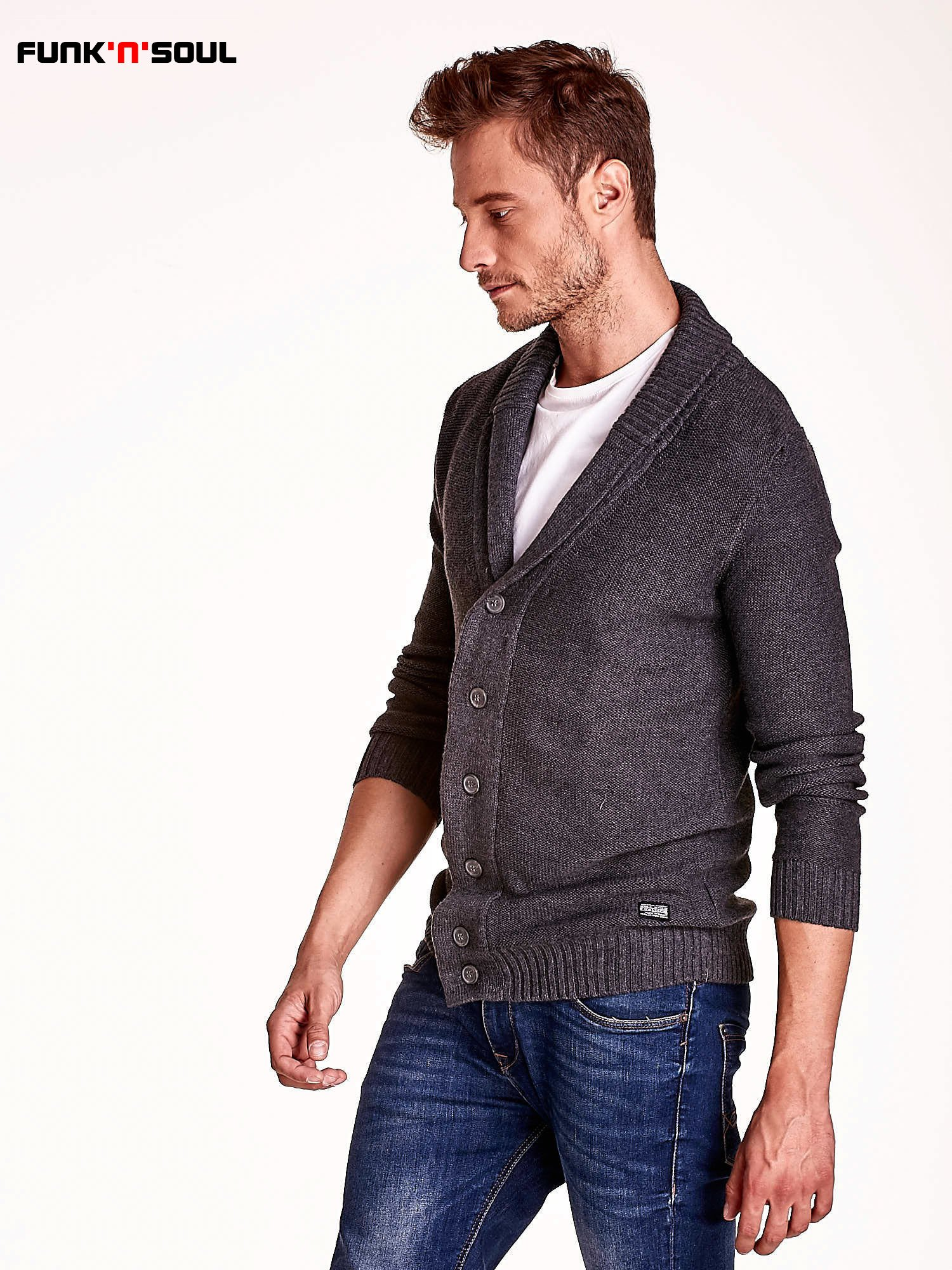 Ciemnoszary sweter męski zapinany na guziki FUNK N SOUL                                  zdj.                                  4