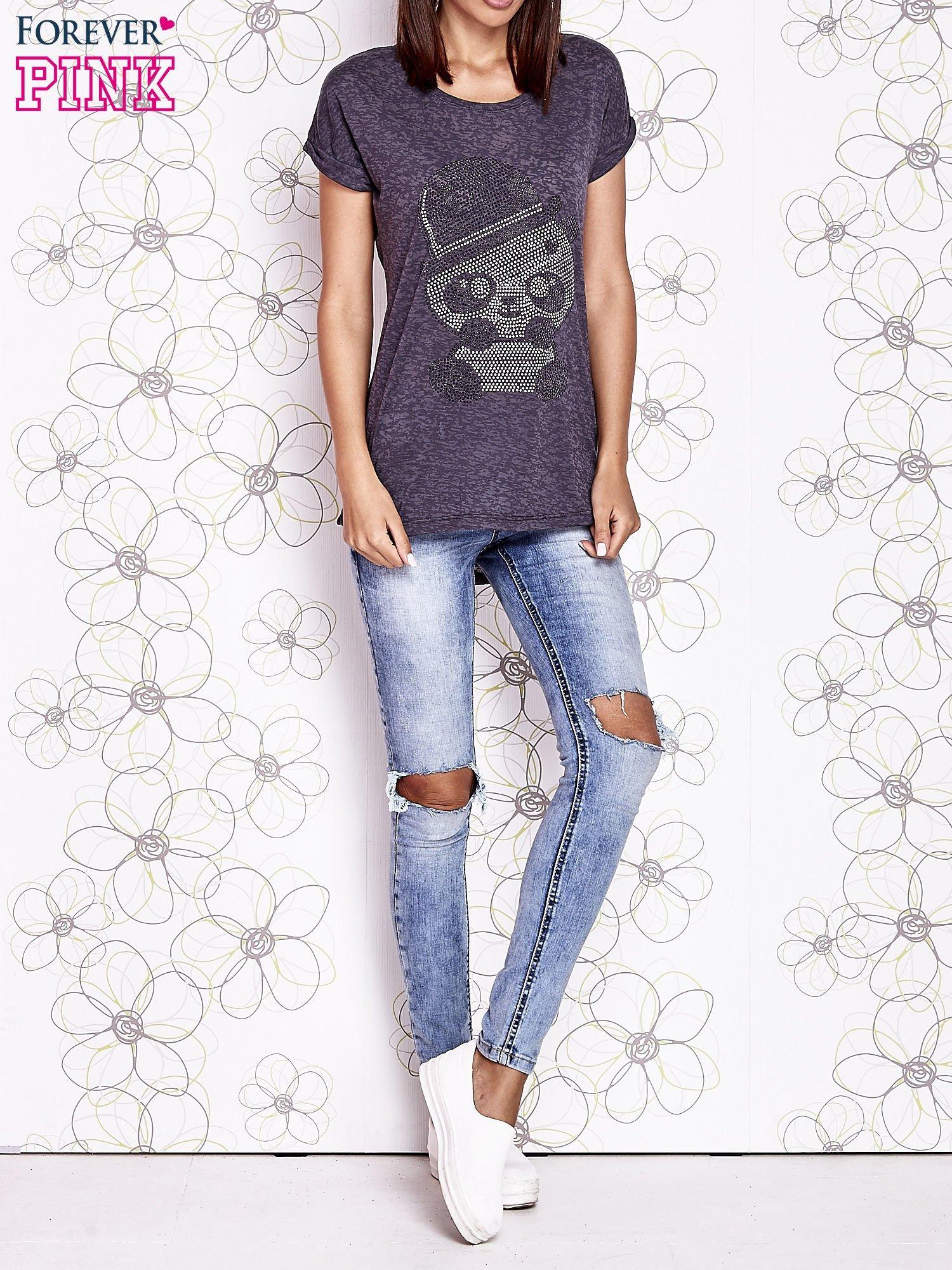 Ciemnoszary t-shirt z nadrukiem pandy                                  zdj.                                  6
