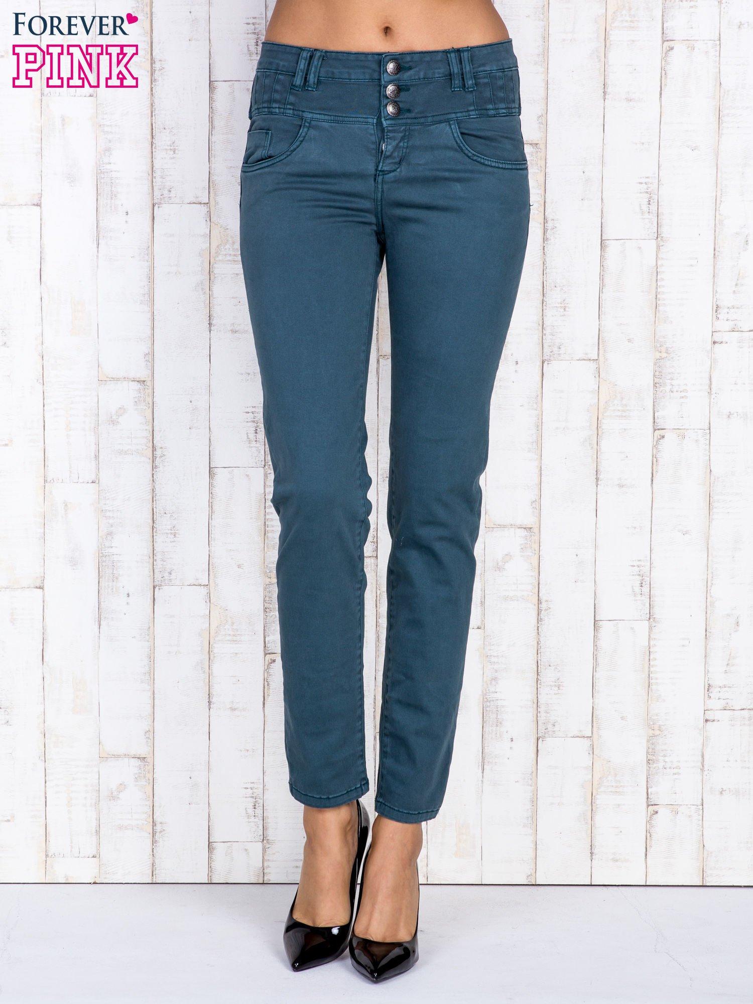 Ciemnozielone jeansowe spodnie skinny z wysokim stanem                                  zdj.                                  1