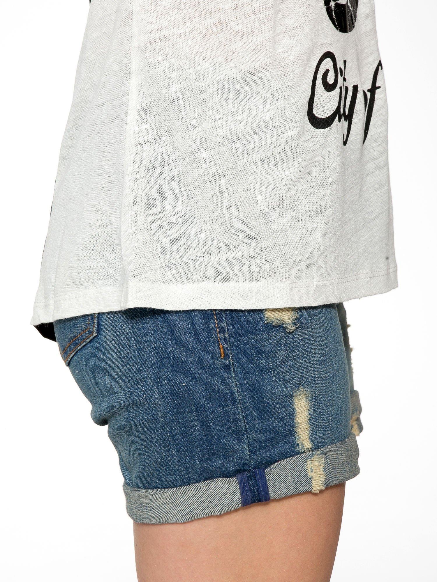 Ciemnyecru t-shirt z napisem NEW YORK CITY OF LOVE 55                                  zdj.                                  8