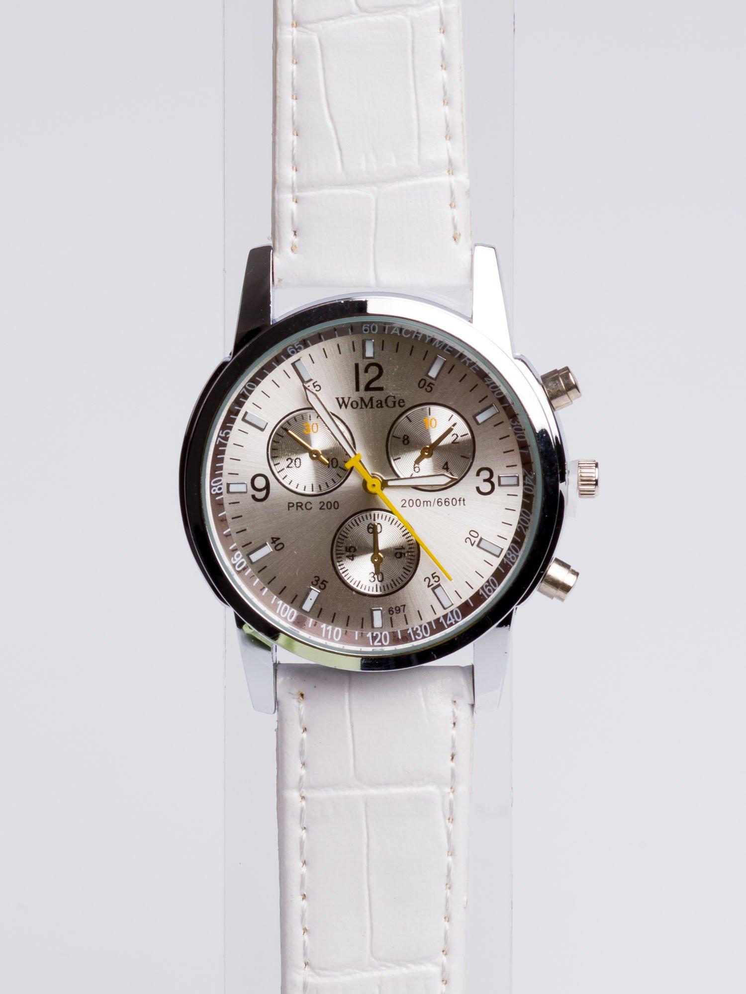 Cudny biały zegarek damski z ozdobnym tachometrem                                  zdj.                                  3