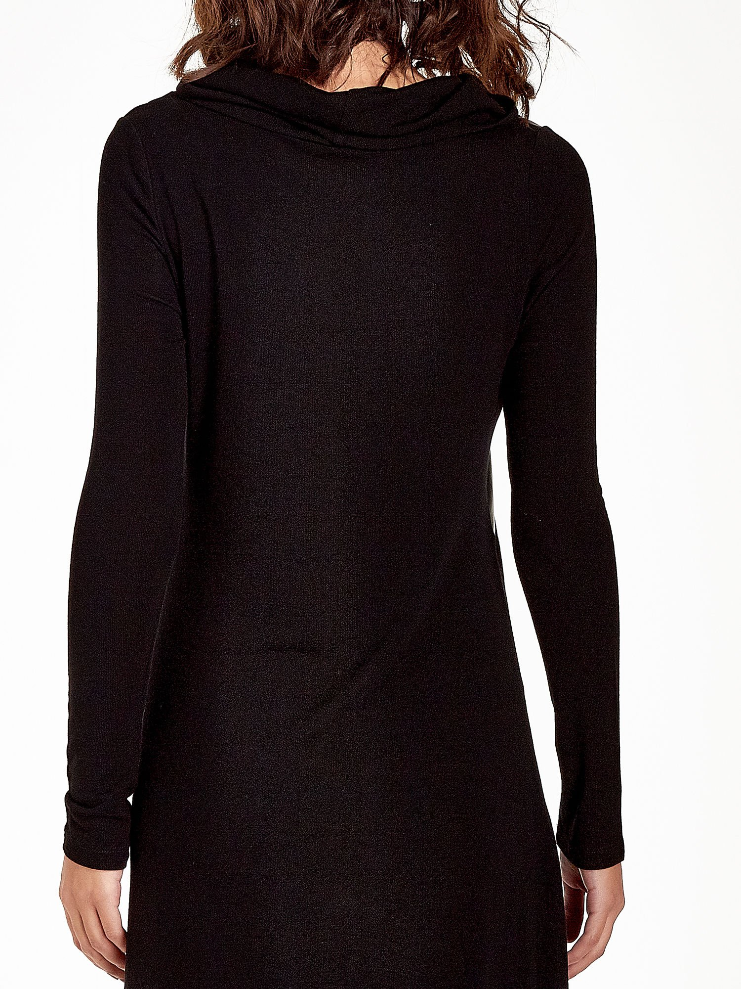 Czarna asymetryczna sukienka ze skórzanymi wstawkami                                  zdj.                                  5