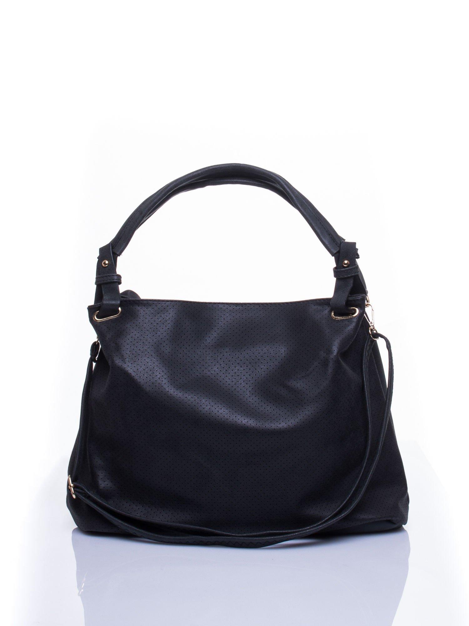 Czarna ażurowa torba na ramię                                  zdj.                                  1