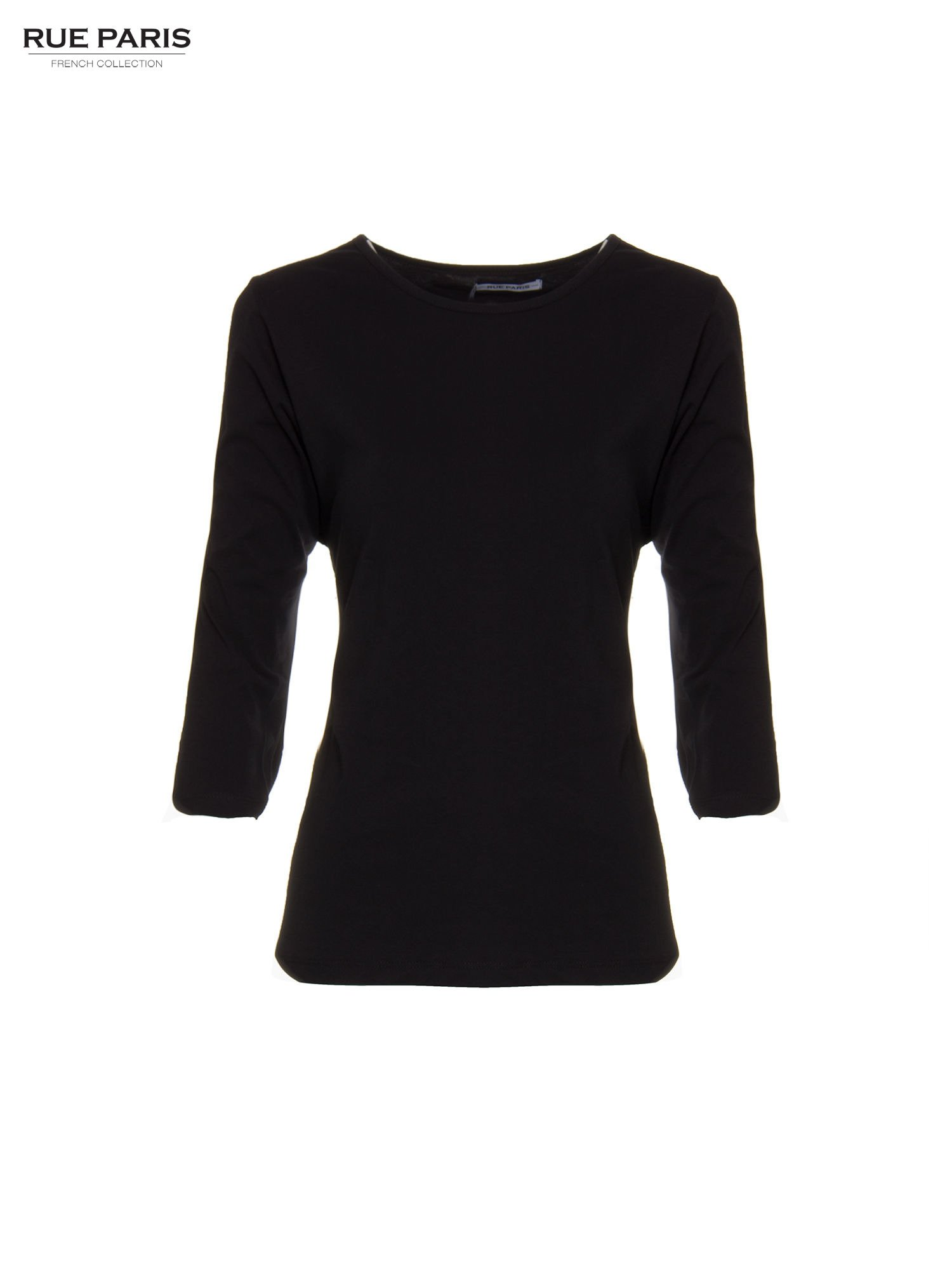 Czarna basicowa bluzka z rękawem 3/4                                  zdj.                                  5