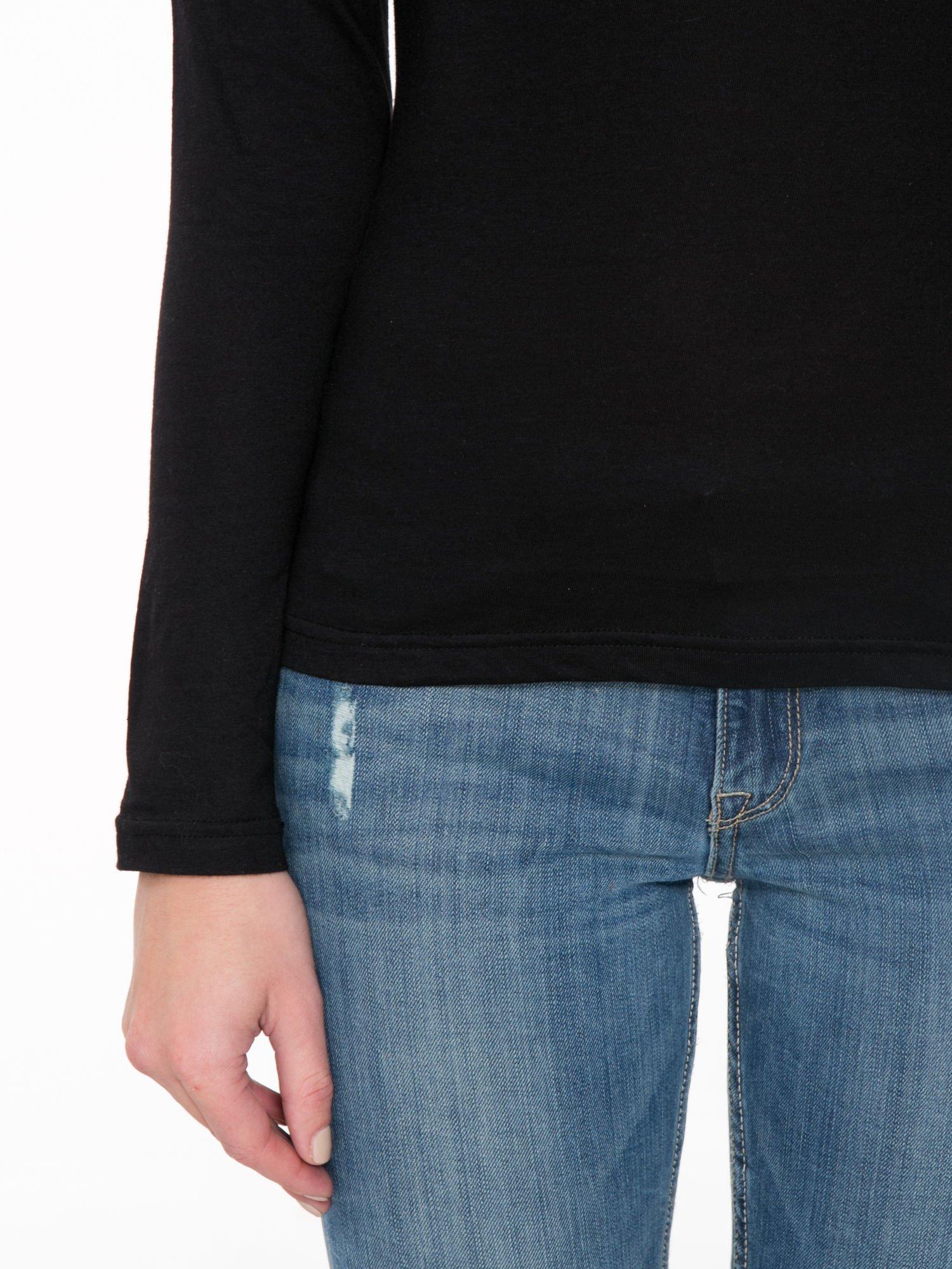 Czarna bawełniana bluzka typu basic z długim rękawem                                  zdj.                                  6