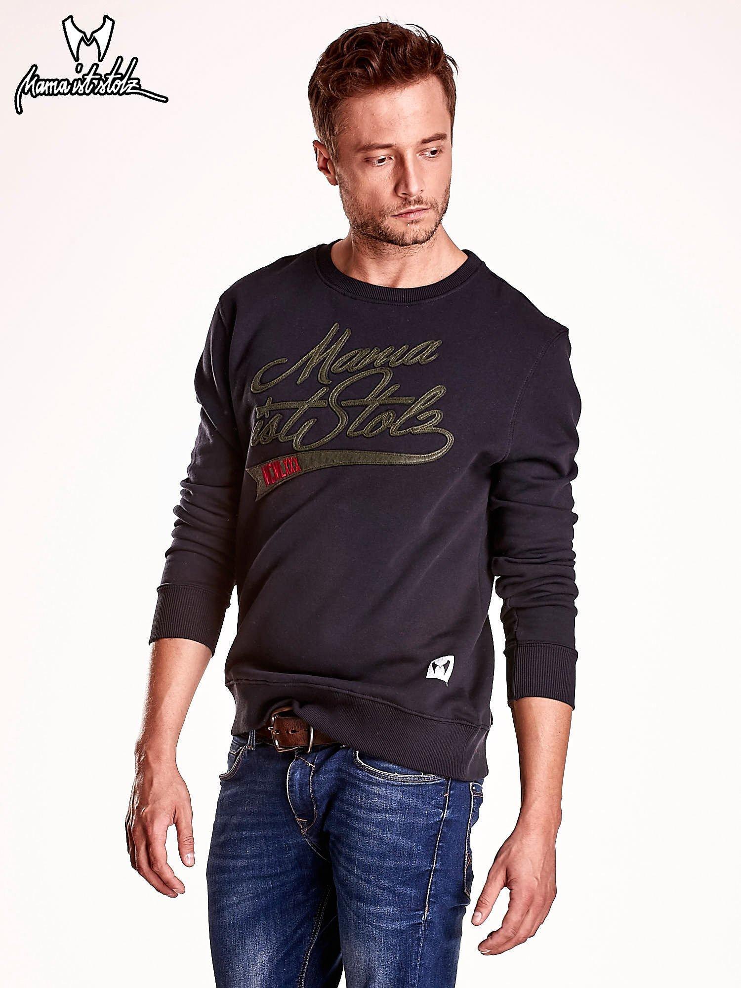 Czarna bluza męska z tekstowymi naszywkami                                  zdj.                                  4