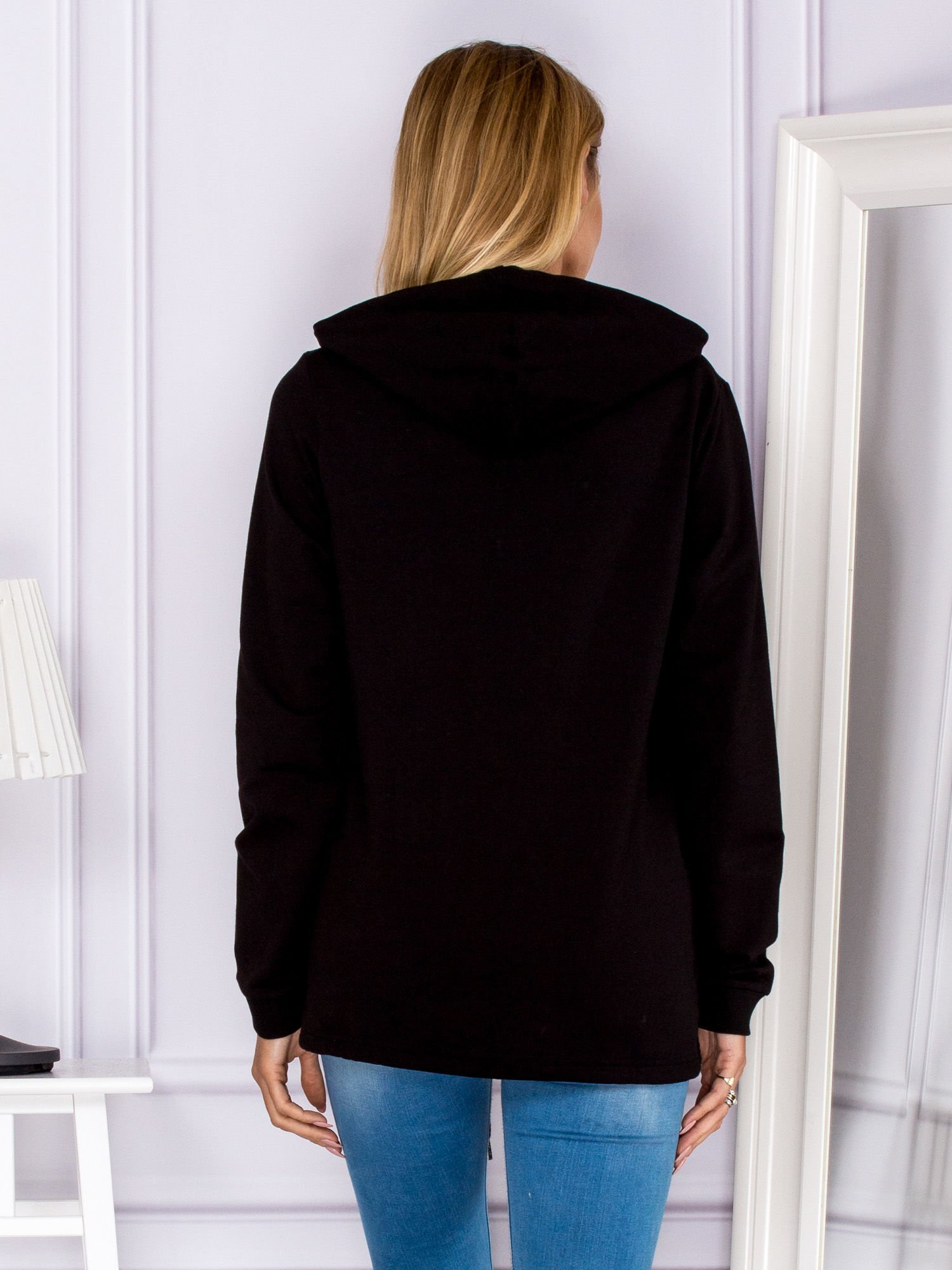 303b41bd1d160 Czarna bluza z kapturem i troczkami - Bluza plus size - sklep eButik.pl