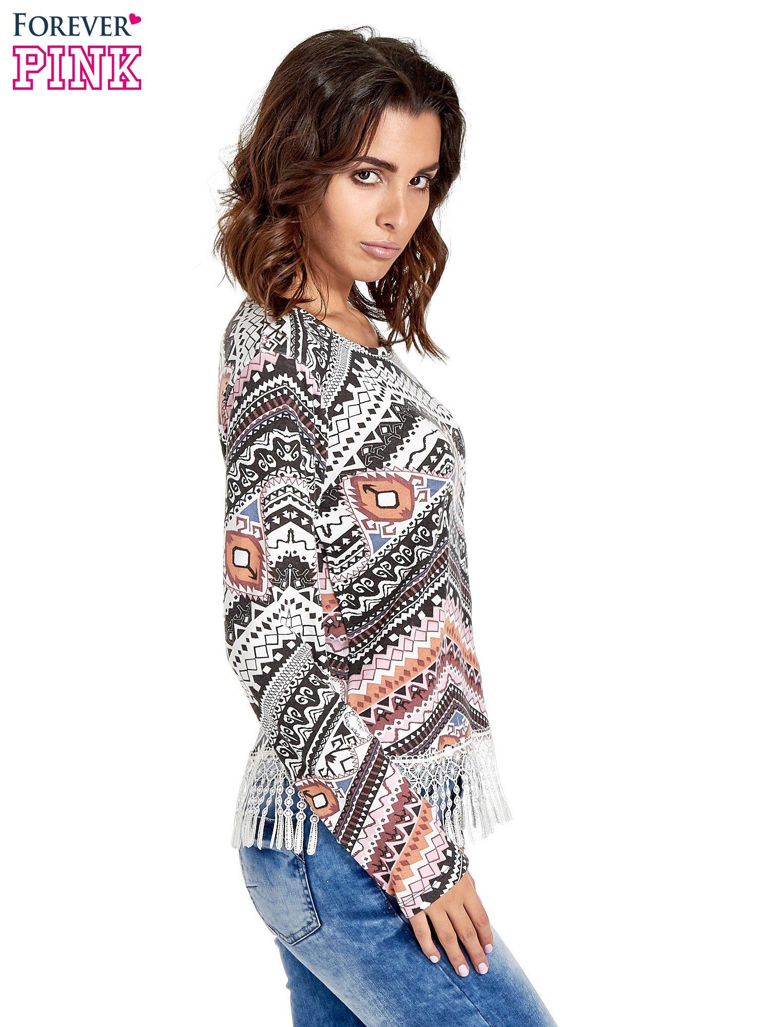 Czarna bluza w azteckie wzory z koronką z frędzlami                                  zdj.                                  3
