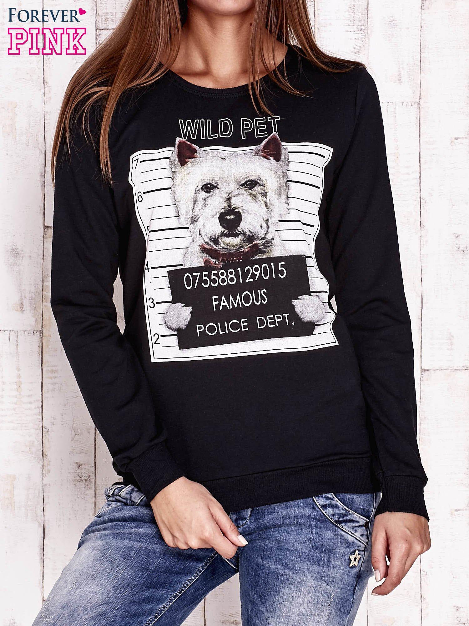 Czarna bluza z nadrukiem psa                                  zdj.                                  1