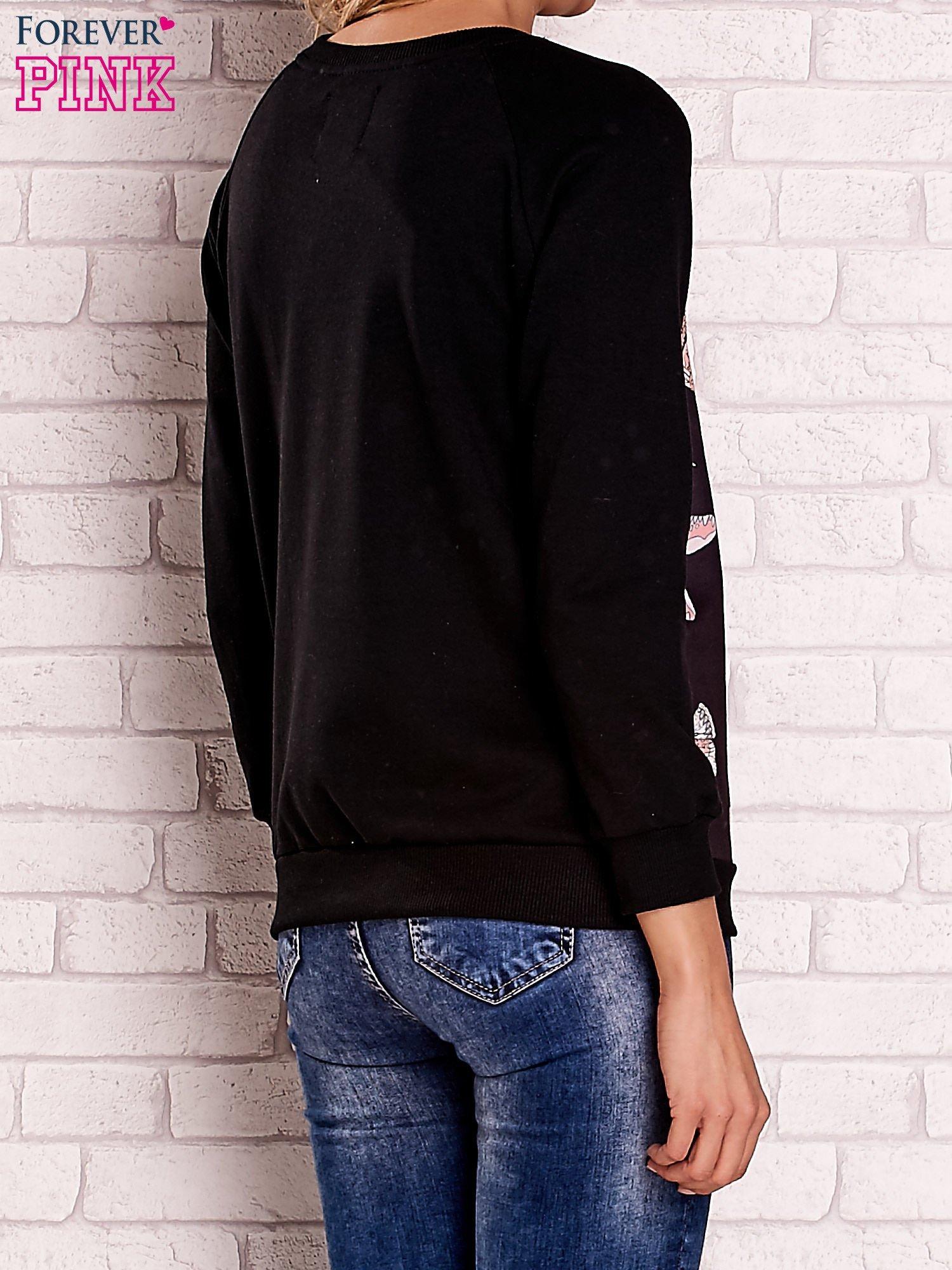 Czarna bluza z napisem BEAUTIFUL PELITER i motywem motyli                                  zdj.                                  3