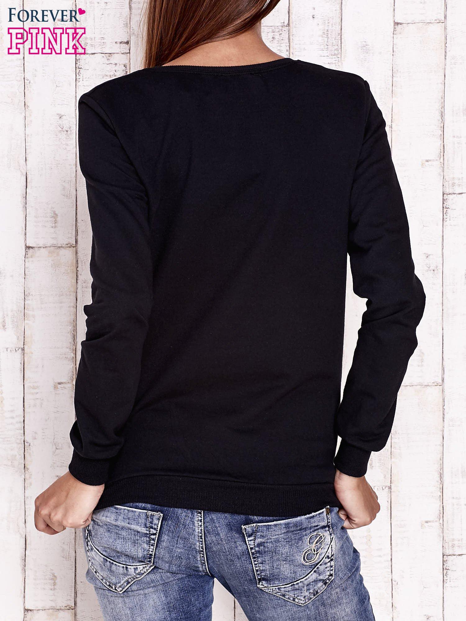 Czarna bluza ze zwierzęcym nadrukiem                                  zdj.                                  4