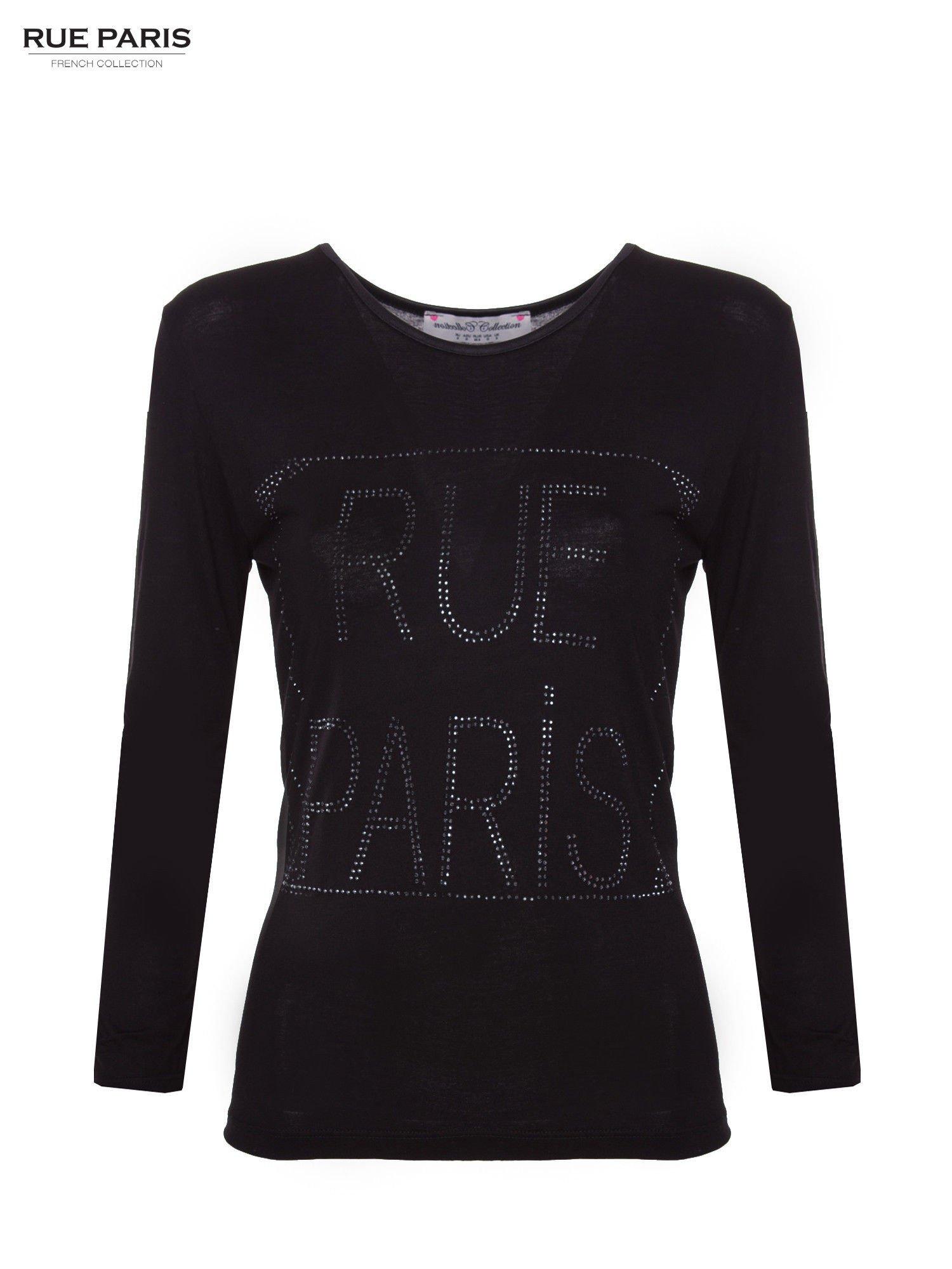 Czarna bluzka RUE PARIS z cyrkoniami                                  zdj.                                  1
