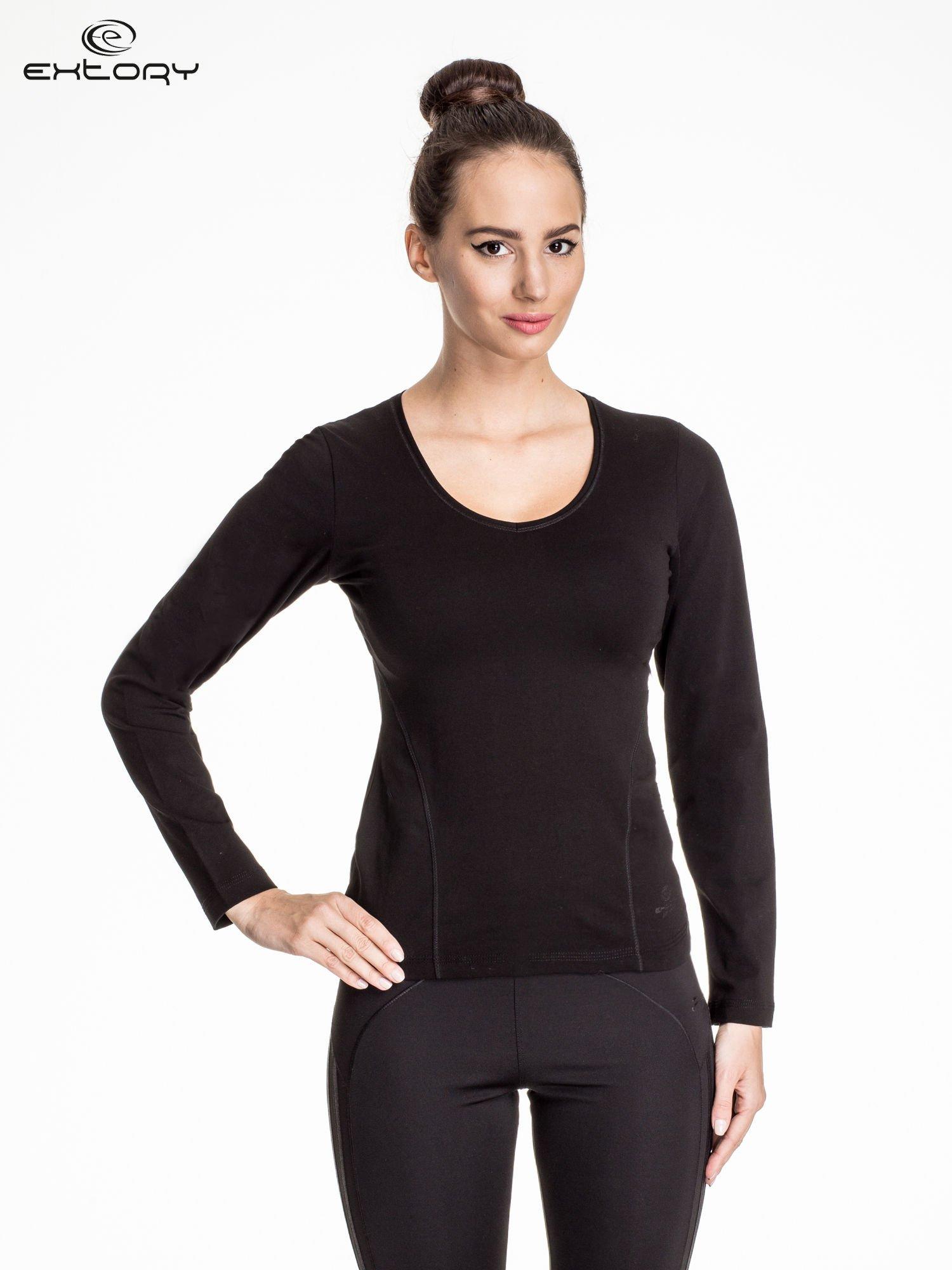 Czarna bluzka sportowa z dekoltem V                                  zdj.                                  1