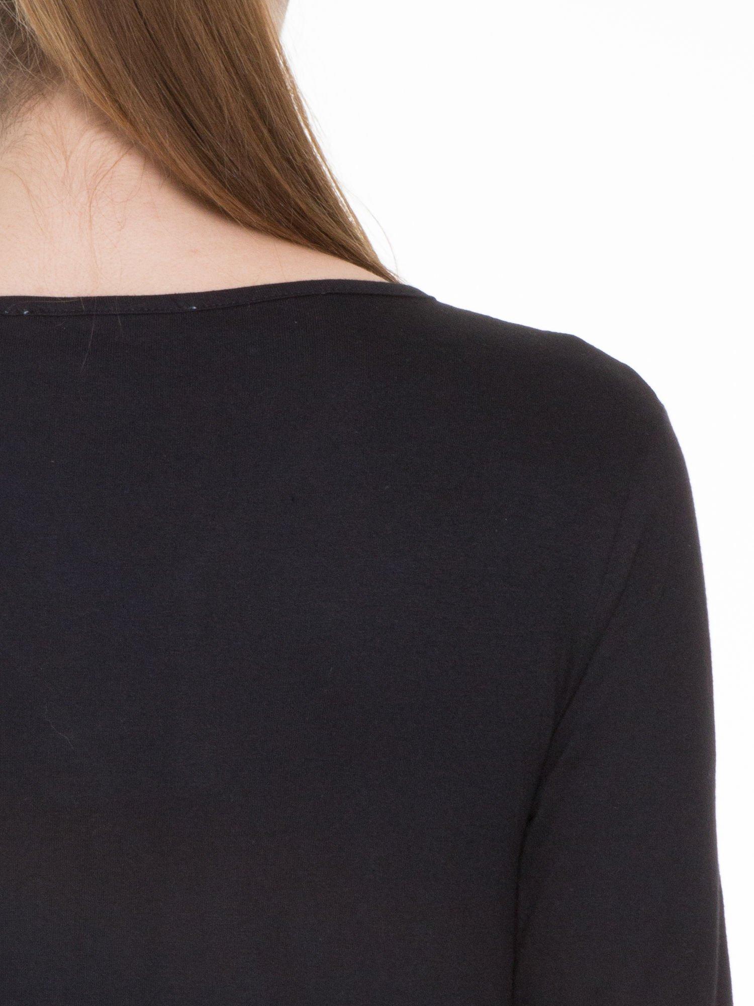 Czarna bluzka z długim rękawem z bawełny                                  zdj.                                  7
