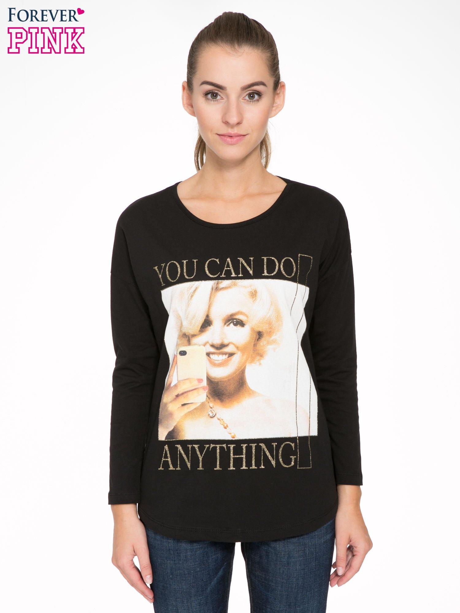Czarna bluzka z nadrukiem Marylin Monroe                                  zdj.                                  1