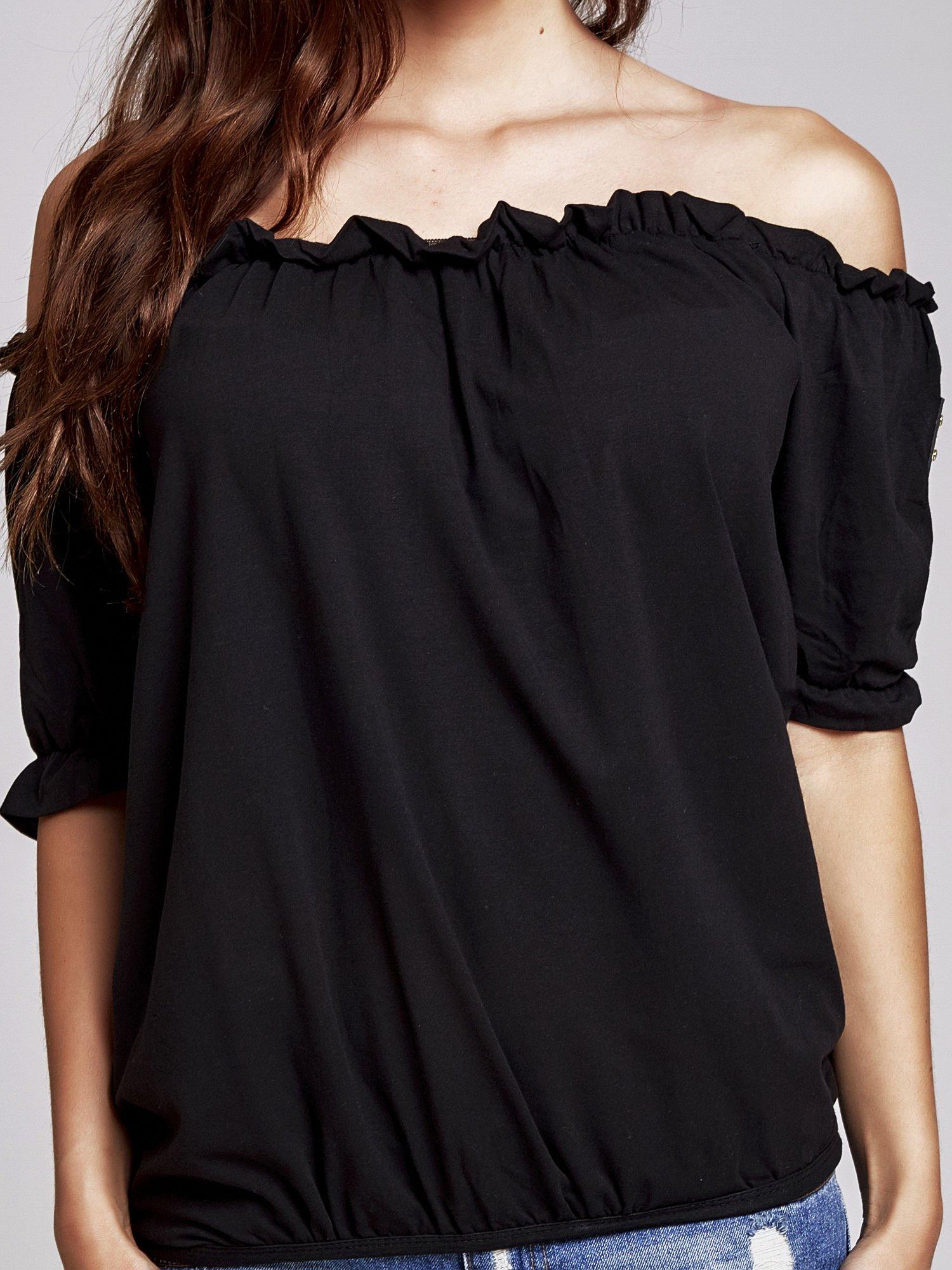 Czarna bluzka z odkrytymi ramionami                                  zdj.                                  5