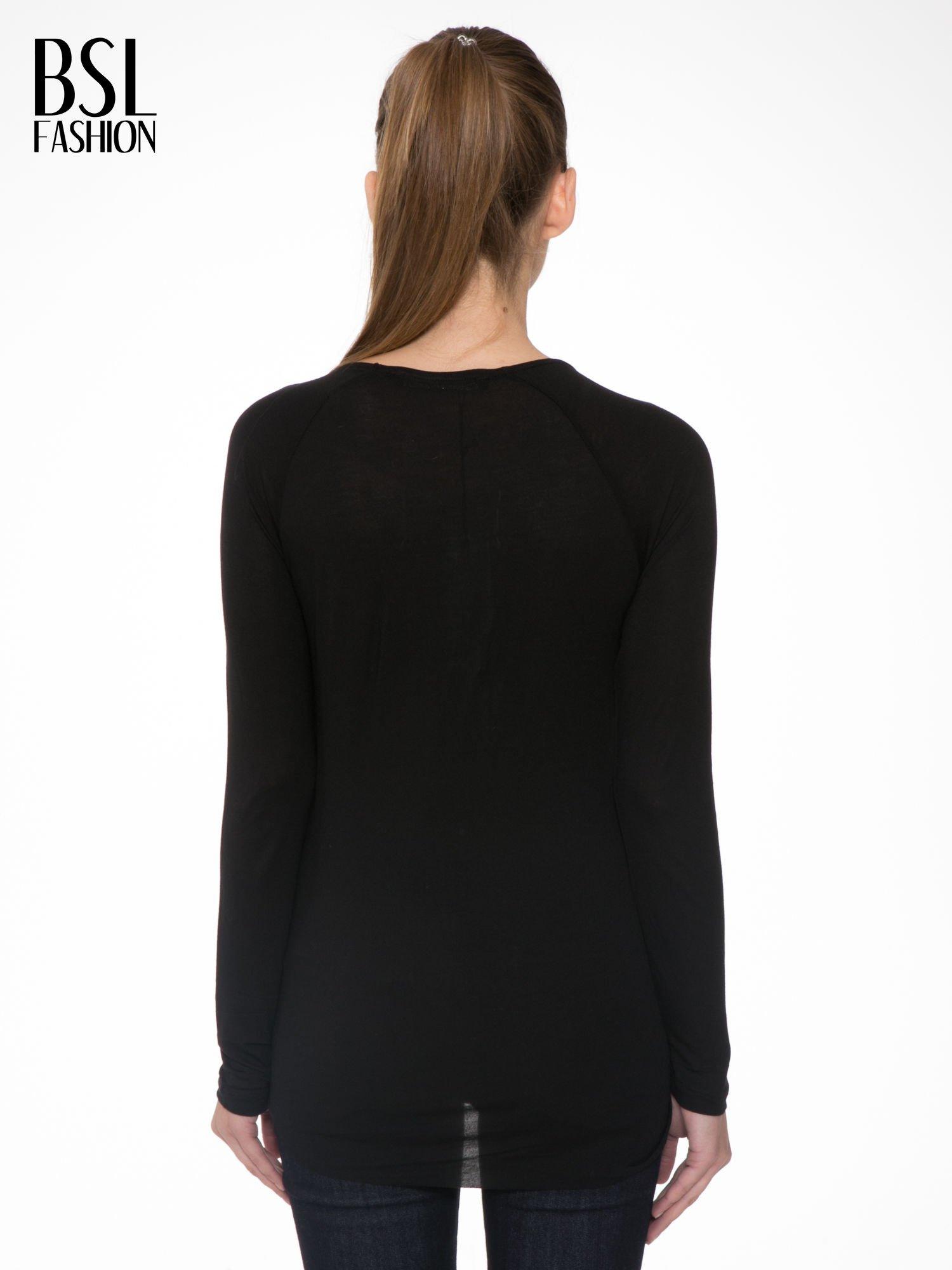 Czarna bluzka z przodem z ekoskóry                                  zdj.                                  4