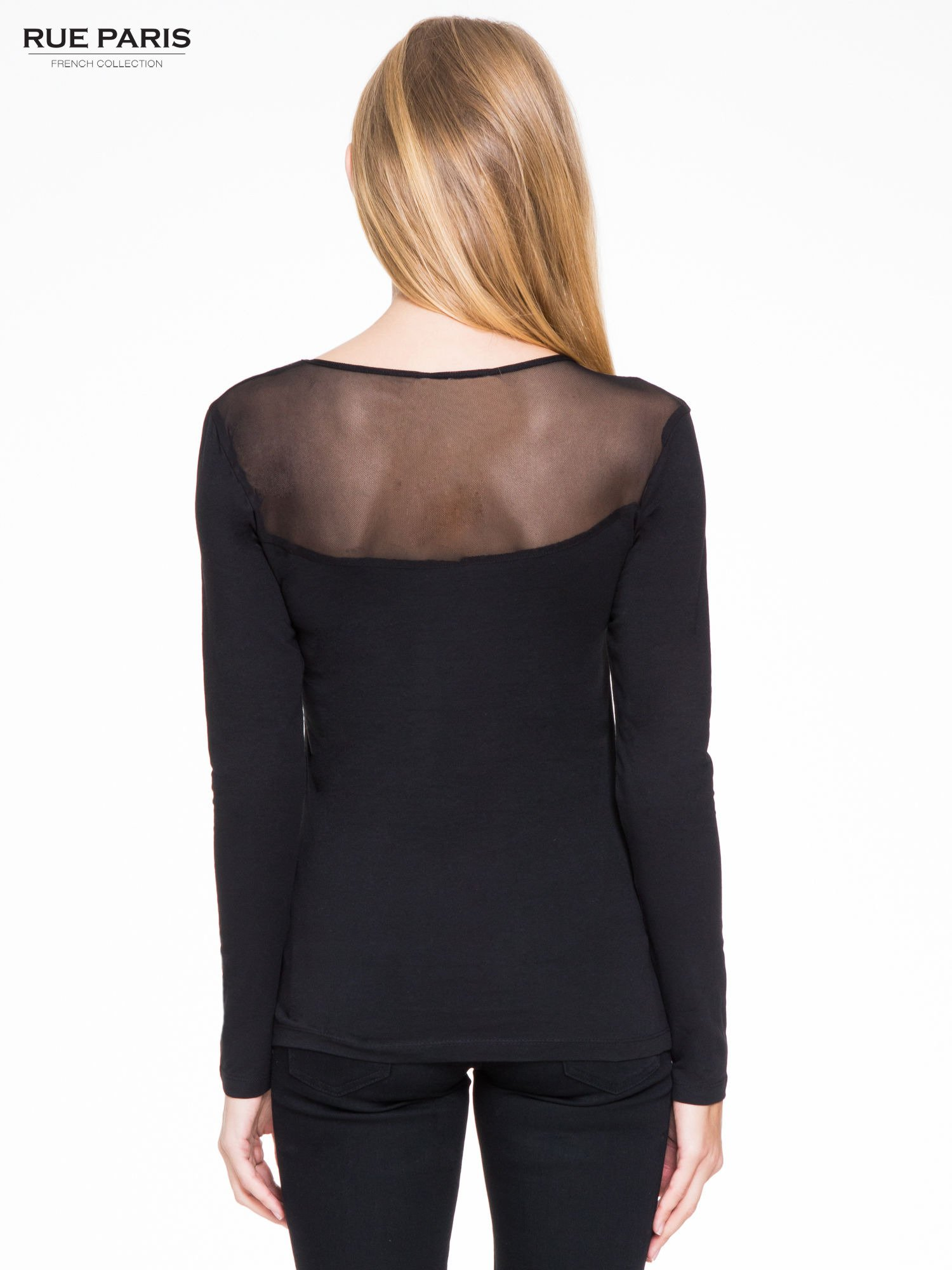 Czarna bluzka z tiulowym karczkiem                                  zdj.                                  4
