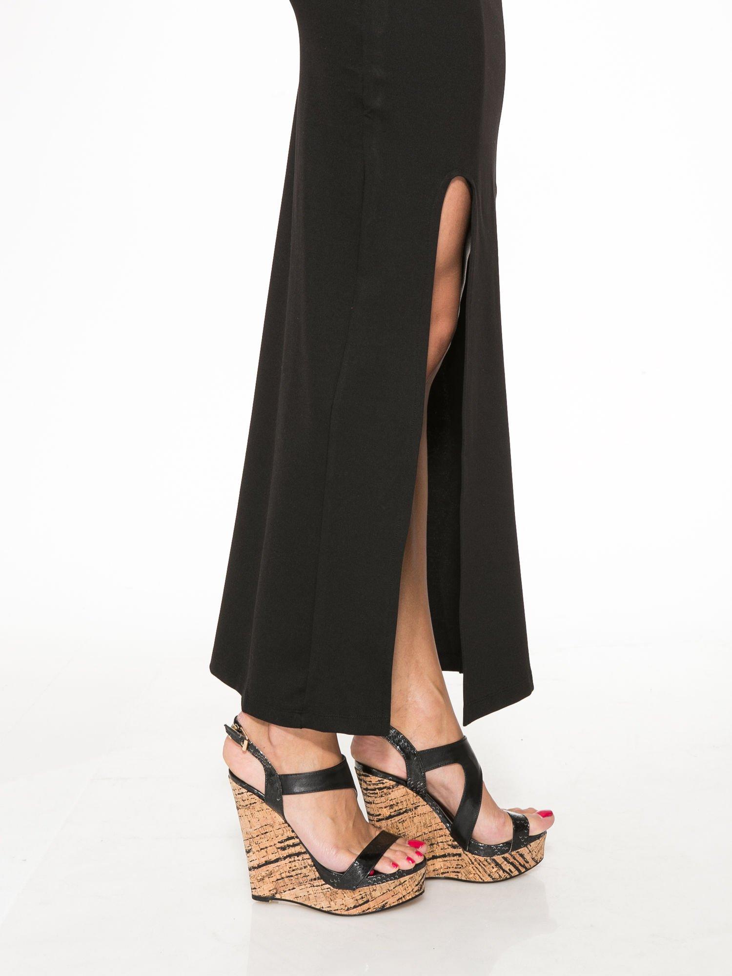 Czarna długa spódnica z rozporkami z przodu                                  zdj.                                  9